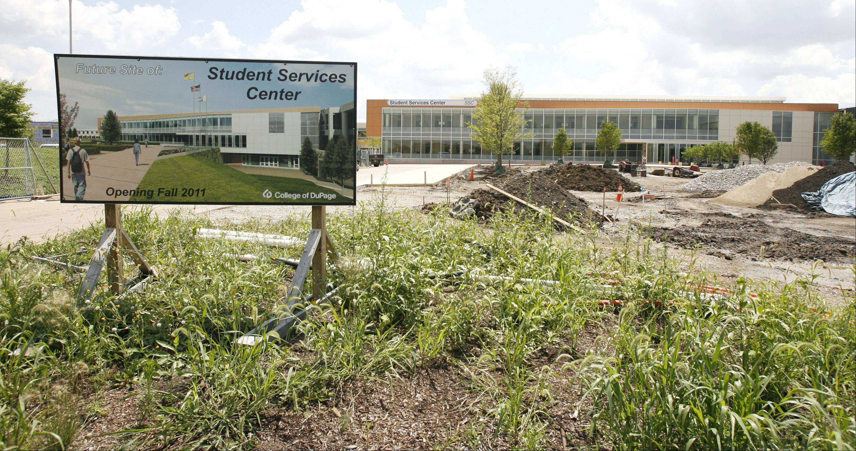 The Student Services Center is one of the buildings on the College of DuPage campus scheduled to open following resolution of a dispute over occupancy permits with Glen Ellyn officials.