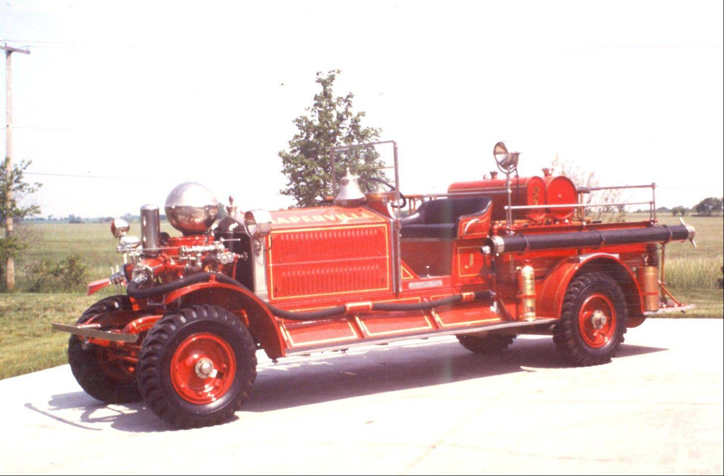 Naperville Hose Company No. 1 cares for this 1924 Ahrens-Fox fire pumper.