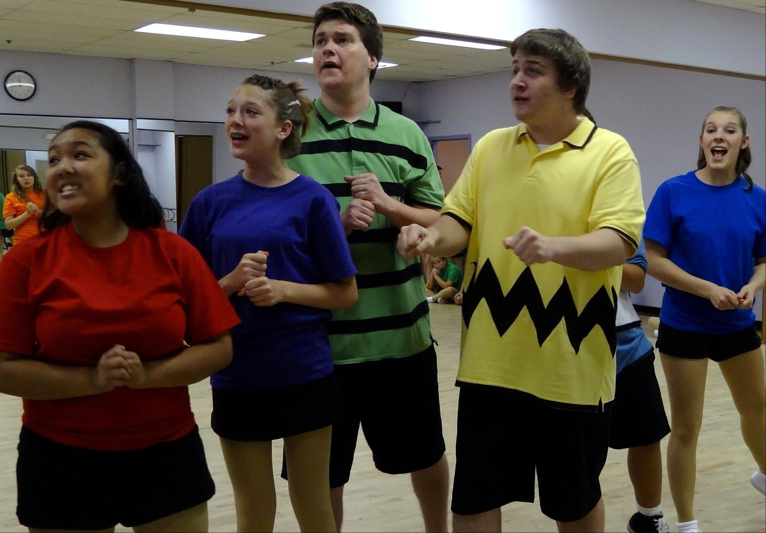 "Cast members rehearse for the Schaumburg On Stage production of ""You're a Good Man, Charlie Brown,"" which will be staged Aug. 4 to 6 at Schaumburg High School."
