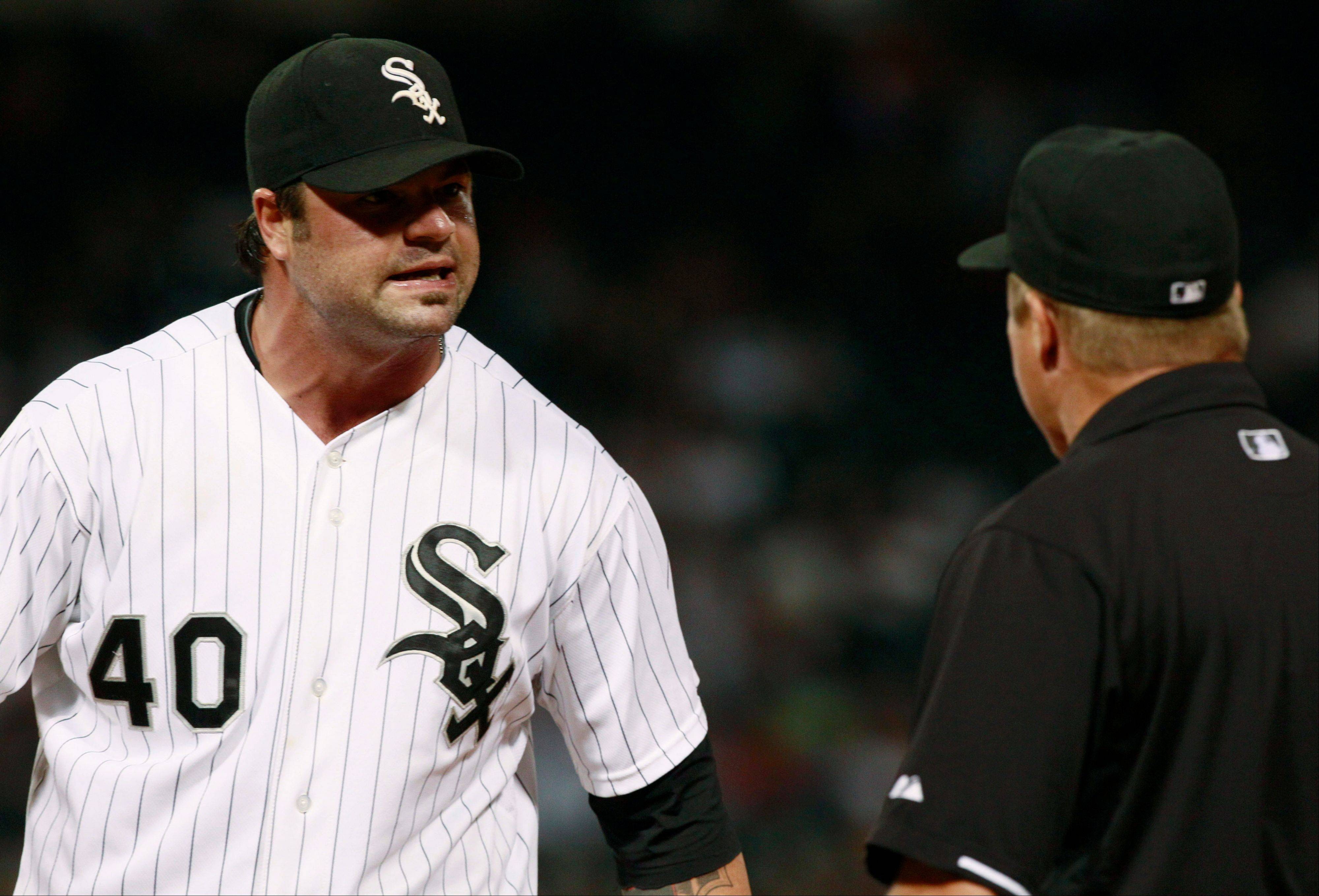 White Sox relief pitcher Brian Bruney argues with first base umpire Marvin Hudson during the seventh inning Wednesday night. Bruney was ejected.