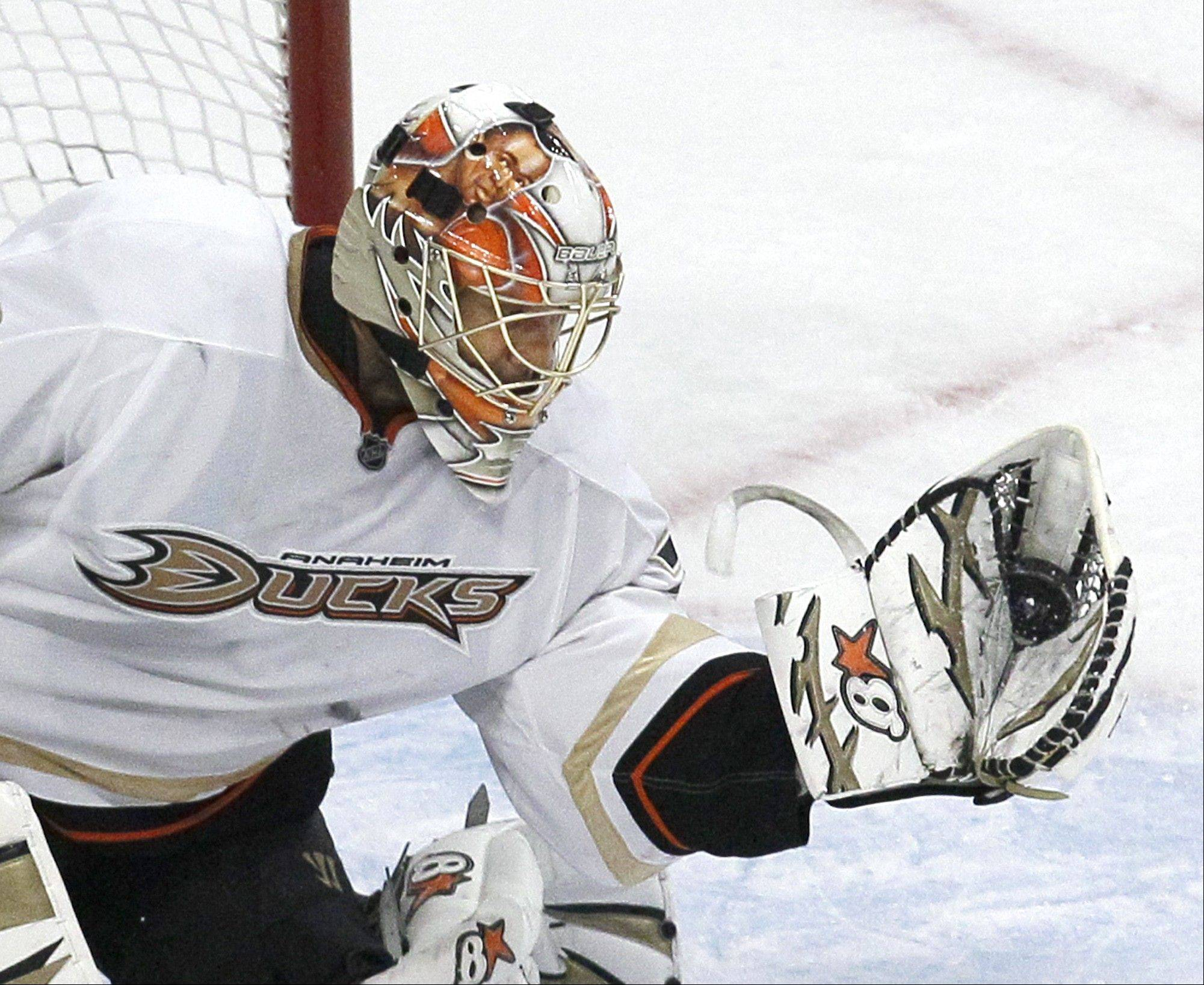 Former Anaheim goalie Ray Emery will have a chance in Chicago to earn the backup spot behind Corey Crawford, Hawks general manager Stan Bowman said Thursday.
