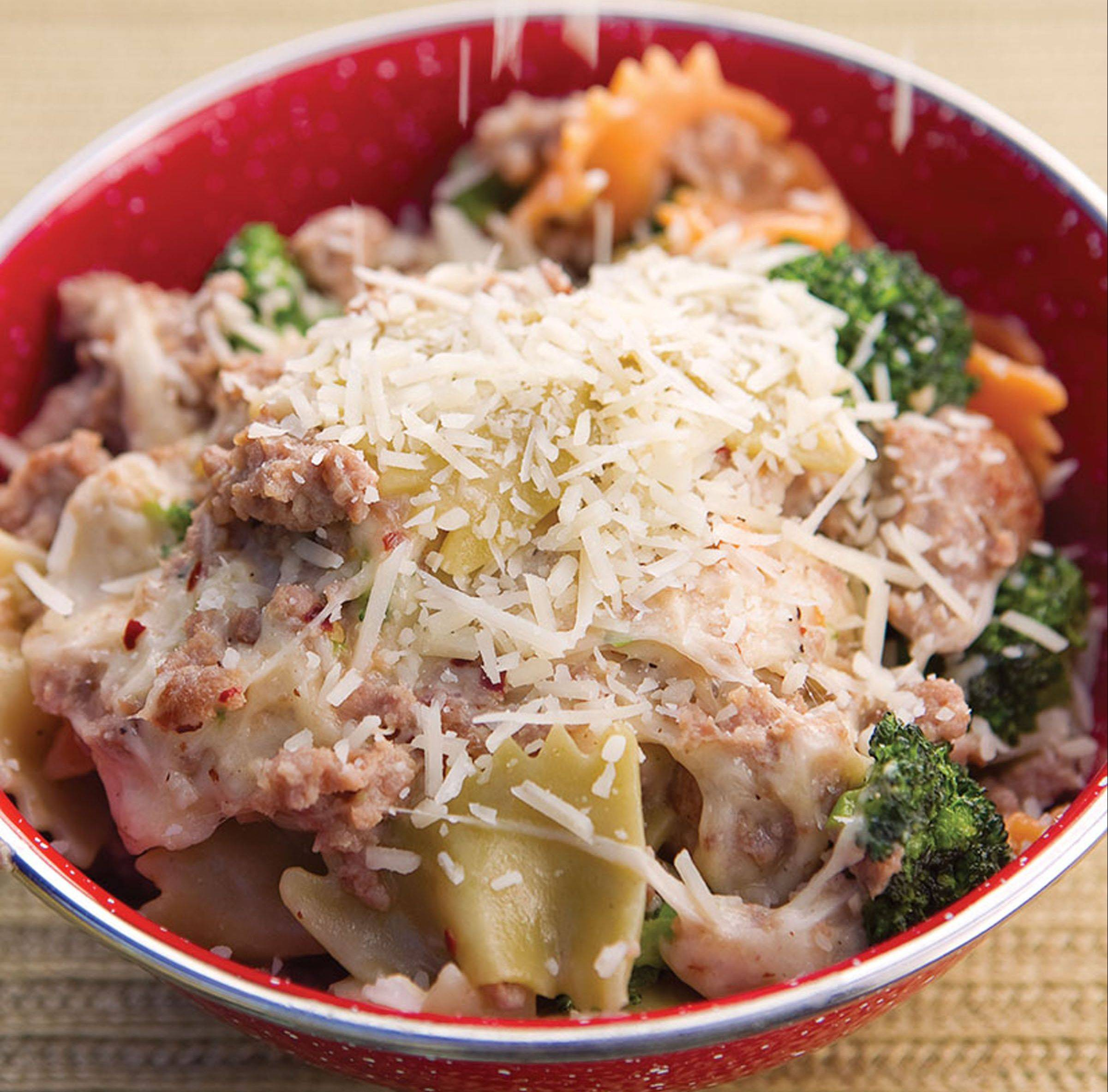 "This meat-veggie-cheese pasta dish from ""Ultimate Camp Cooking"" is the kind of all-in-one meal that makes camp cooking fun and tasty."