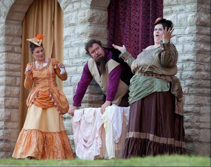 "In the Shakespeare on Clark production of ""The Merry Wives of Windsor,"" Lynn Meredith of Elburn plays Mistress Ford, Jerry Urbik of Aurora is Sir John Falstaff, and Elizabeth Krahulek of Downers Grove is Mistress Page."