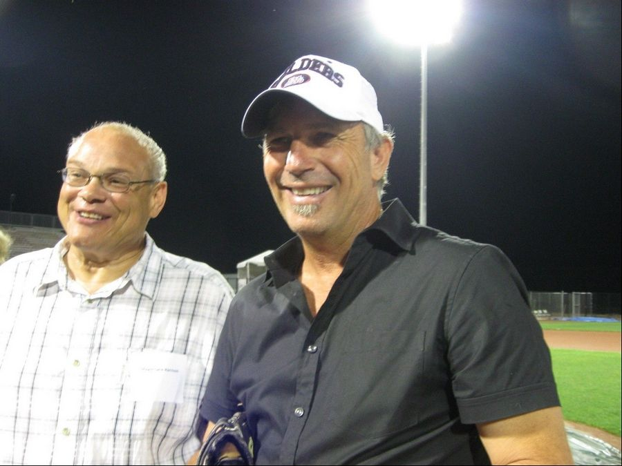 Zion Mayor Lane Harrison joined actor Kevin Costner at the city's temporary ballpark last year. Costner has a stake in the Lake County Fielders independent league baseball team that calls the facility home.