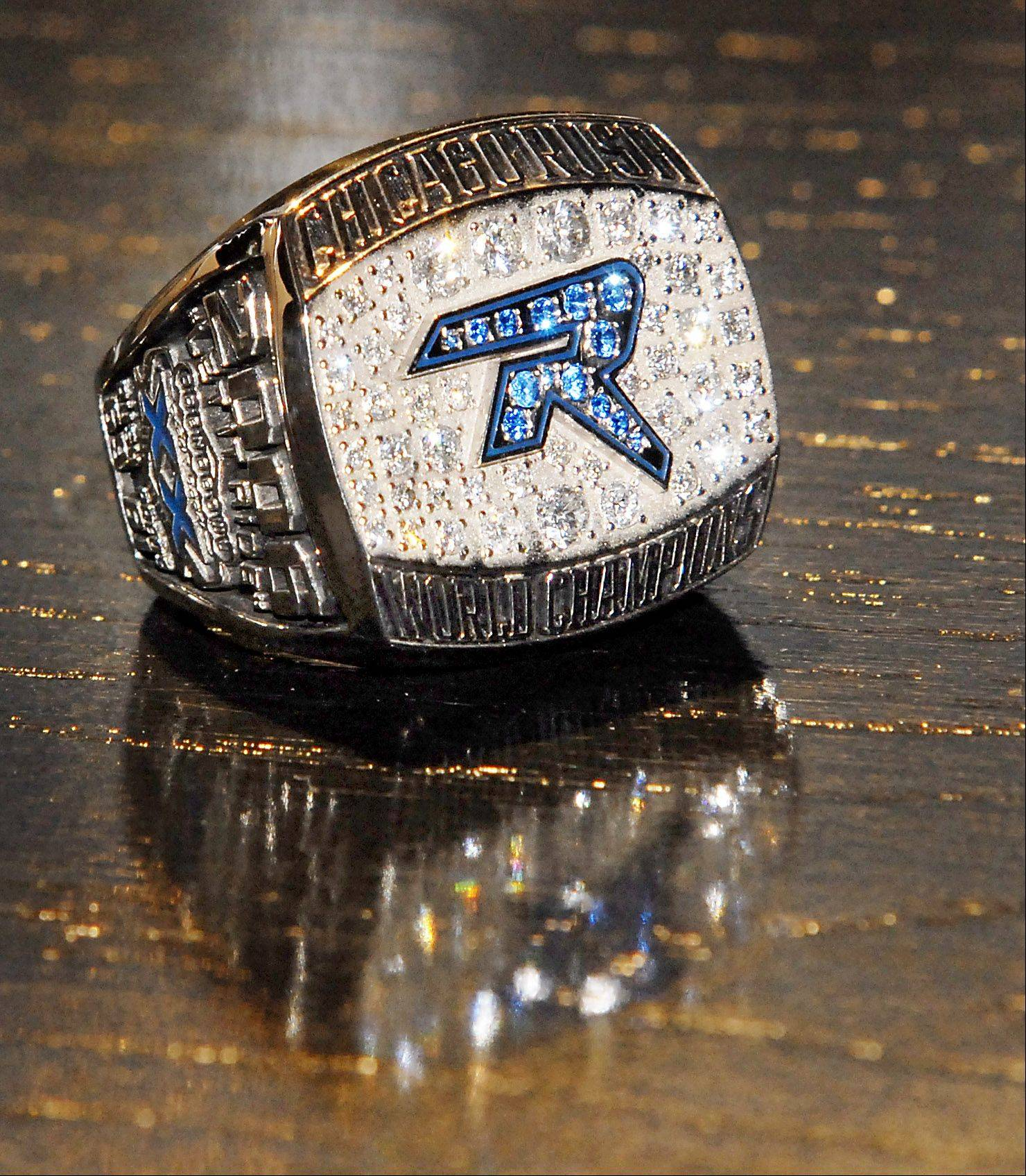 The Chicago Rush earned this ring by winning ArenaBowl XX in 2006. Now the team is one win away from earning a spot in ArenaBowl XXIV. They must beat the Arizona Rattlers on Saturday to advance.