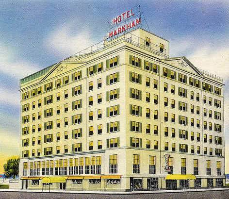 Postcard image of the history Hotel Markham in Gulfport, Mississippi.