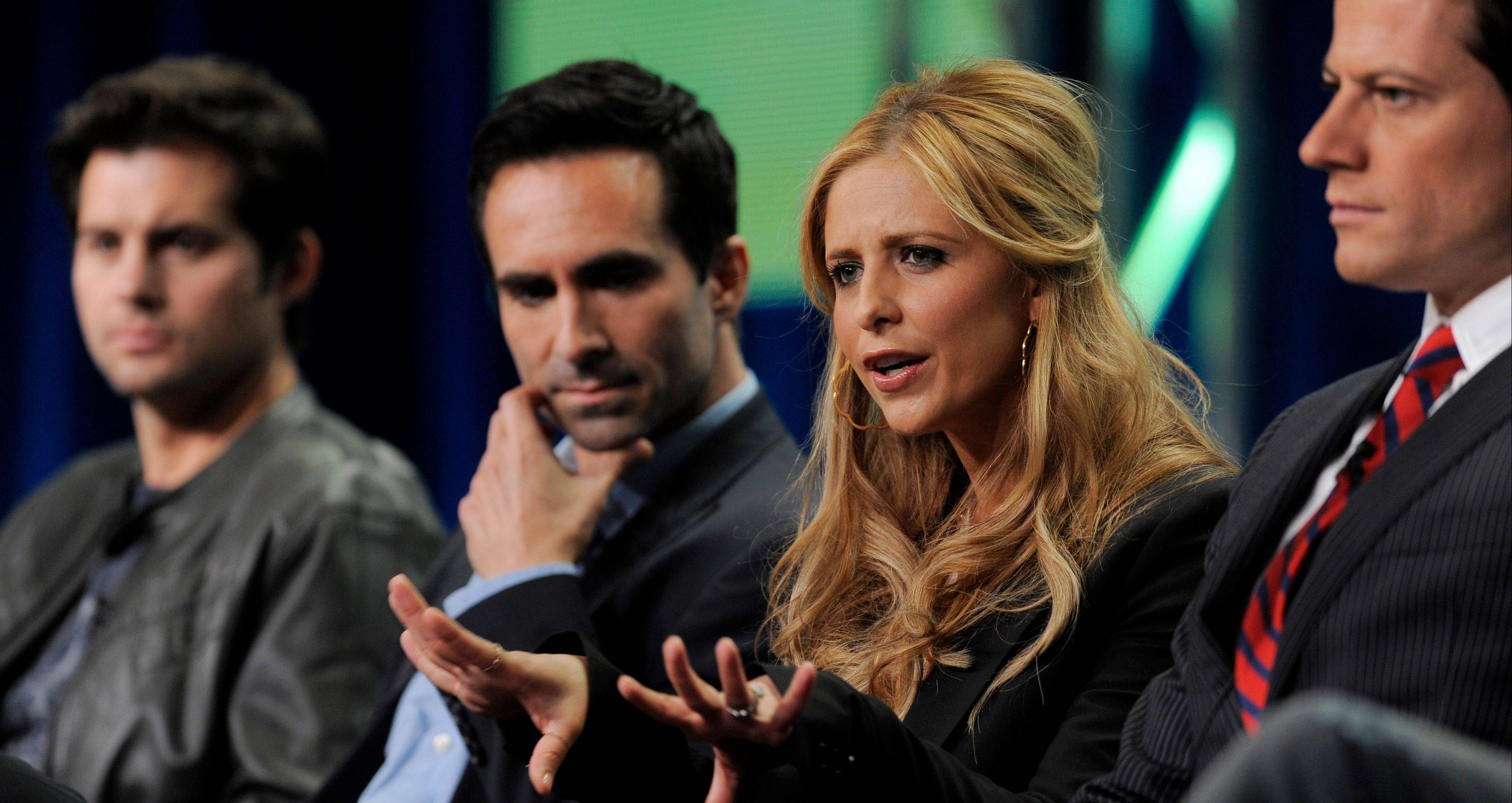 "Sarah Michelle Gellar answers questions with fellow ""Ringer"" cast members Kristoffer Polaha, from left, Nestor Carbonell and Ioan Gruffudd at the CW Showtime summer press tour in Beverly Hills, Calif., Thursday."