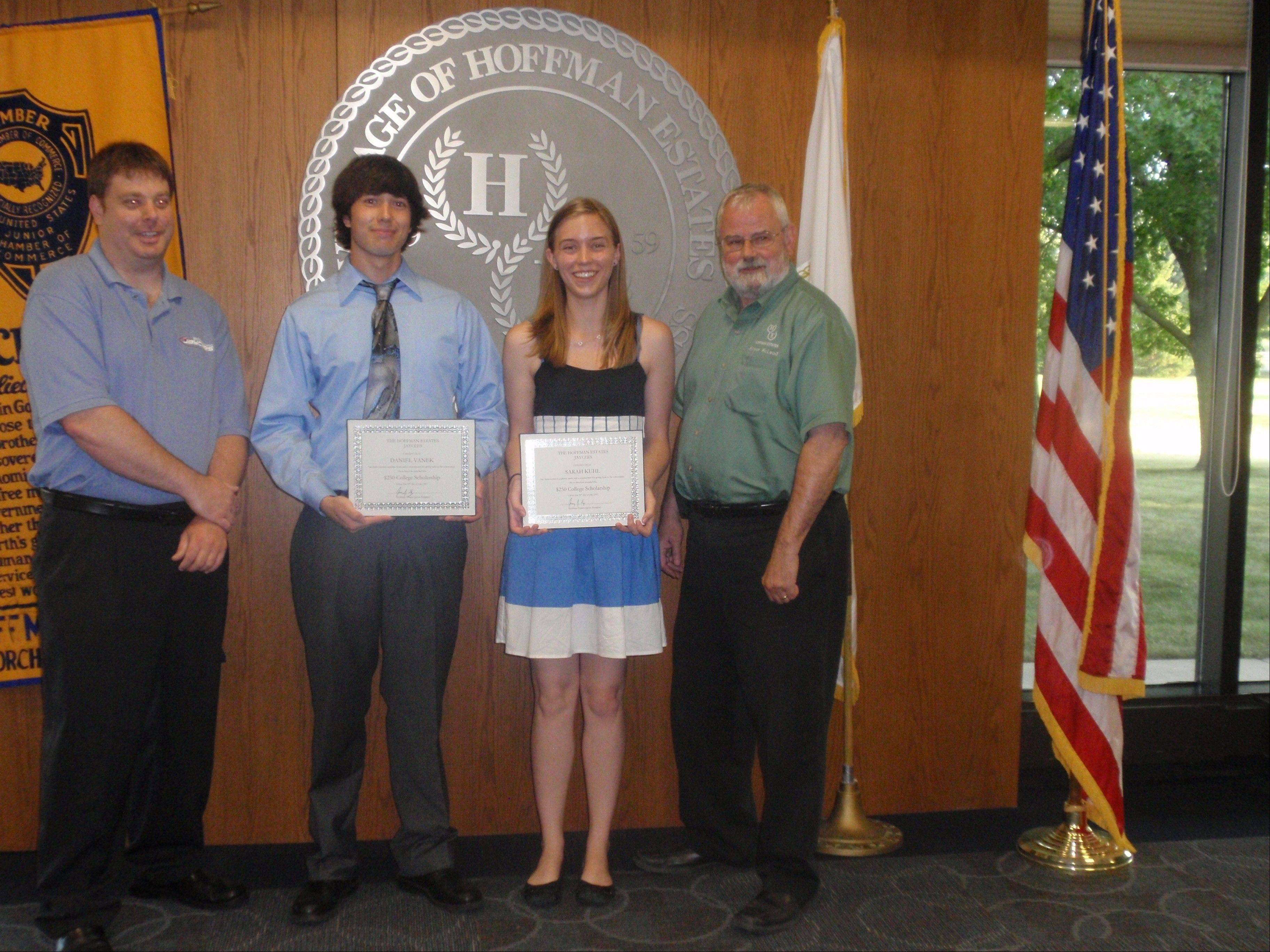 Pictured, from left, at the scholarship presentation are: Jaycee President Jeremy Ewing; Daniel Vanek; Sarah Kuhl; and Hoffman Estates Mayor Bill McLeod.
