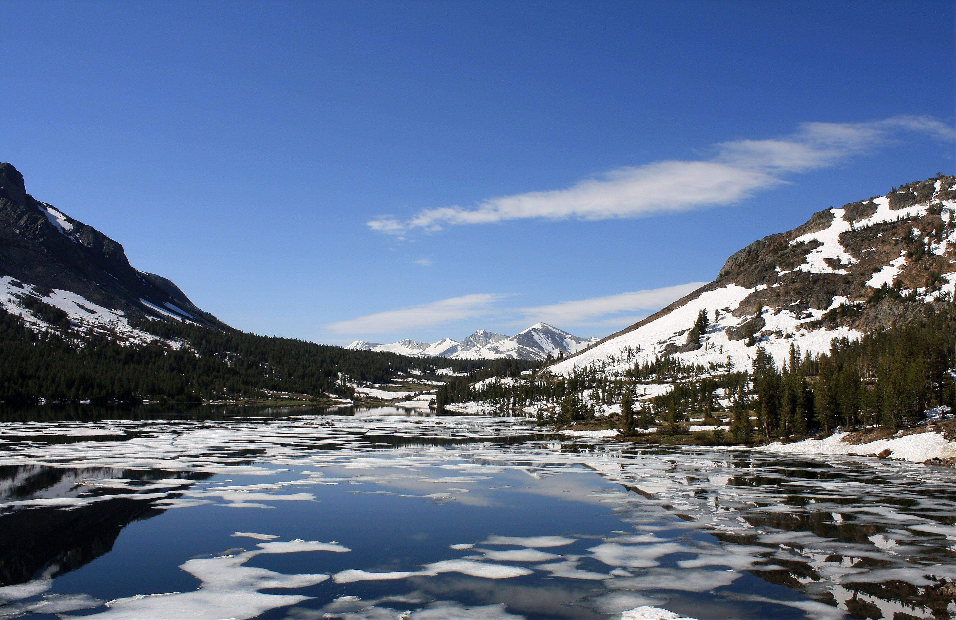 An icy lake in Yosemite, July 5, 2011.