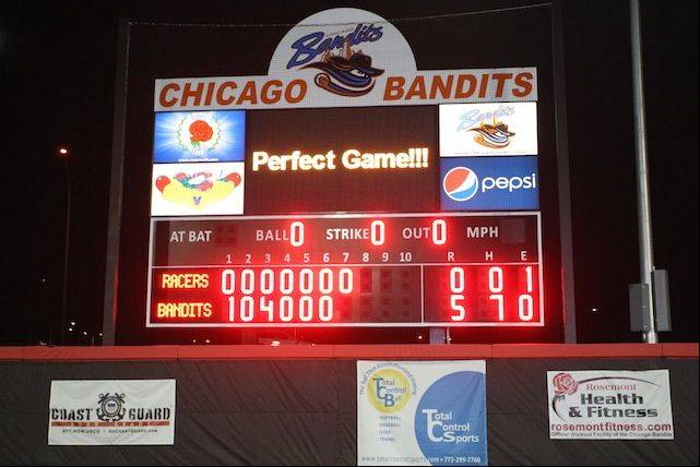 The Chicago Bandits scoreboard at Rosemont Stadium says it all after Monica Abbott records the first perfect game in the stadium. Abbott had 10 strikeouts against Akron in the 5-0 win.