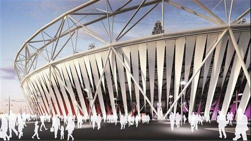 Artist�s rendering an innovative wraparound curtain encircling the Olympic Stadium for the 2012 Games.