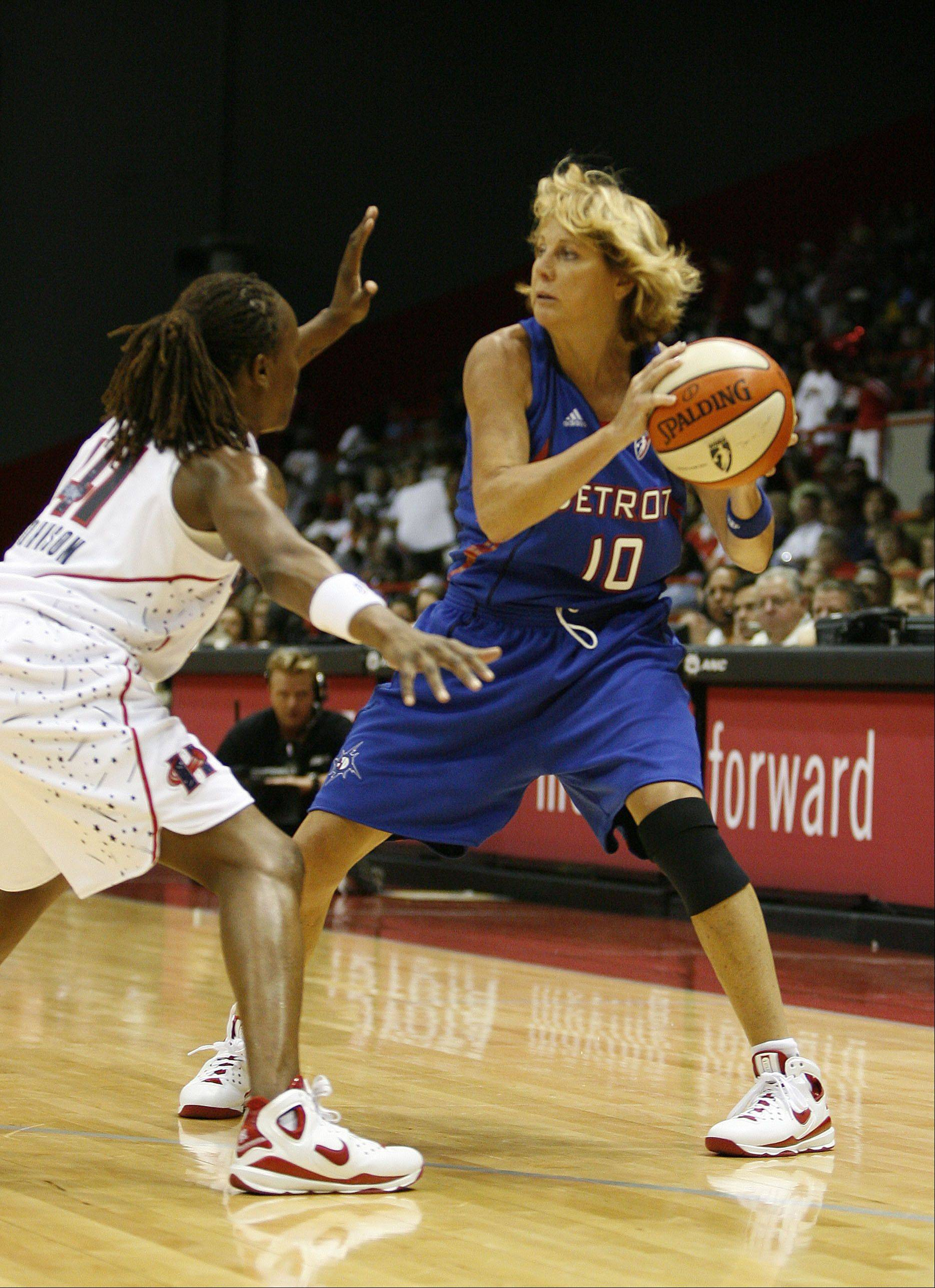 Nancy Lieberman, right, played in a WNBA game on July 24, 2008, at 50 years old. Lieberman signed a seven-day contract with the Detroit Shock and broke her own record as the oldest player in league history. She played one game and had 2 assists and turnovers against the Houston Comets, who beat the Shock 79�61.