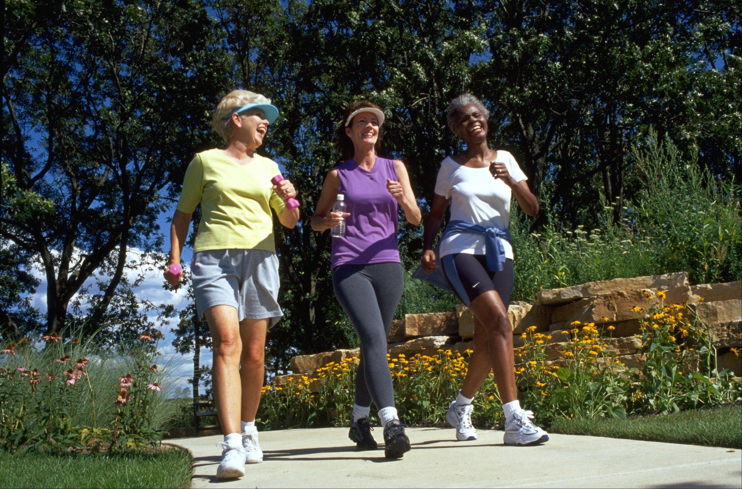 Walkers at Sun City in Huntley keep active and have fun.