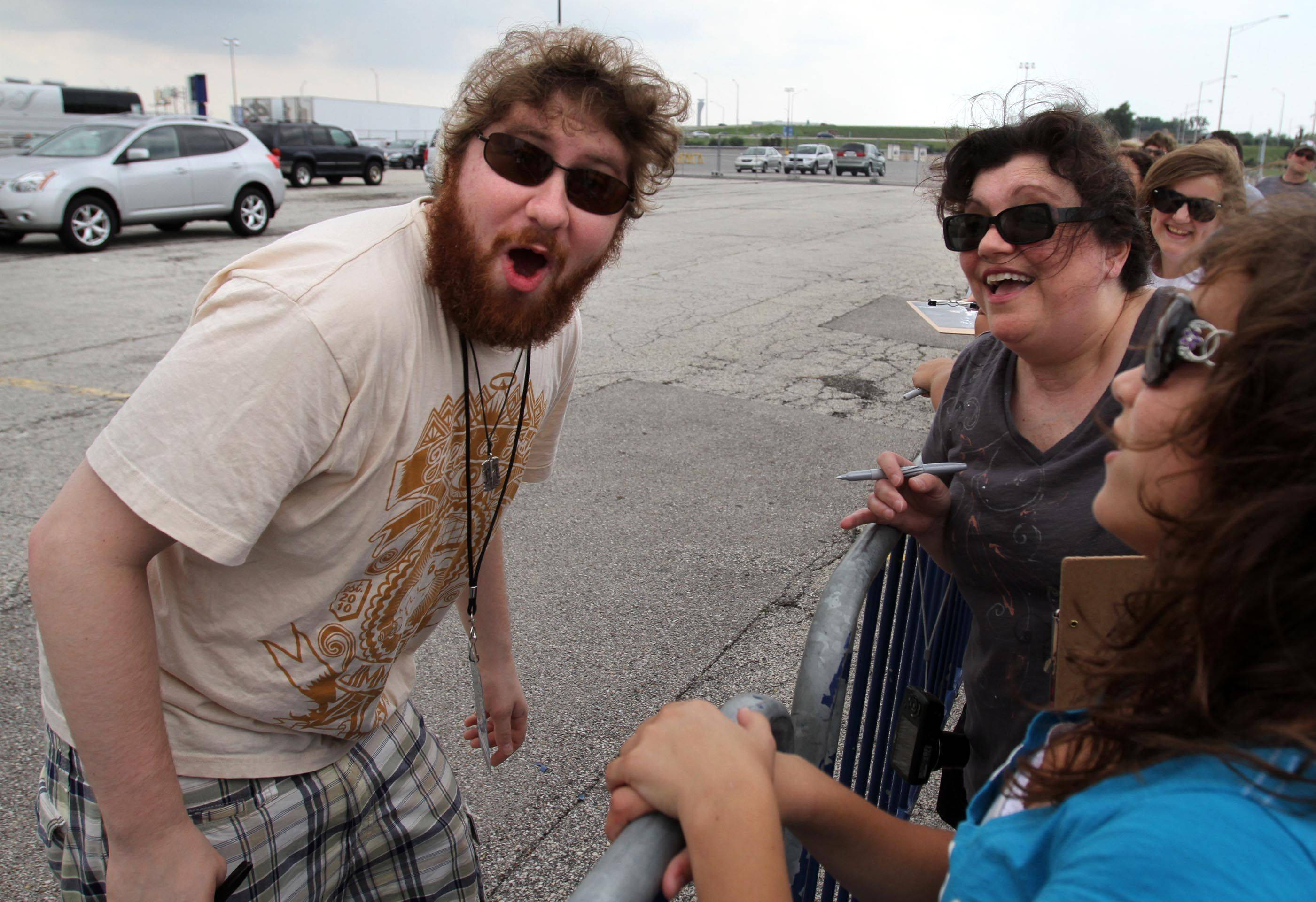 Casey Abrams has fun with joking with fans before the concert Saturday.
