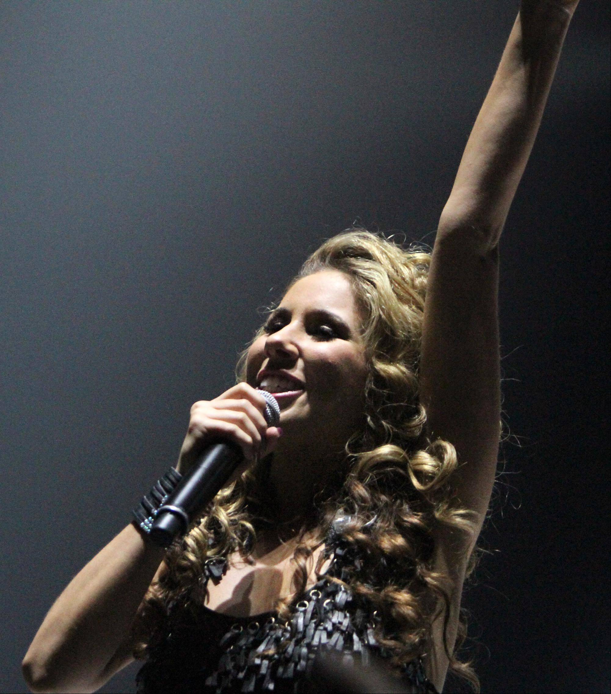 Haley Reinhart performs during the American Idol concert at Allstate Arena in Rosemont on Saturday.