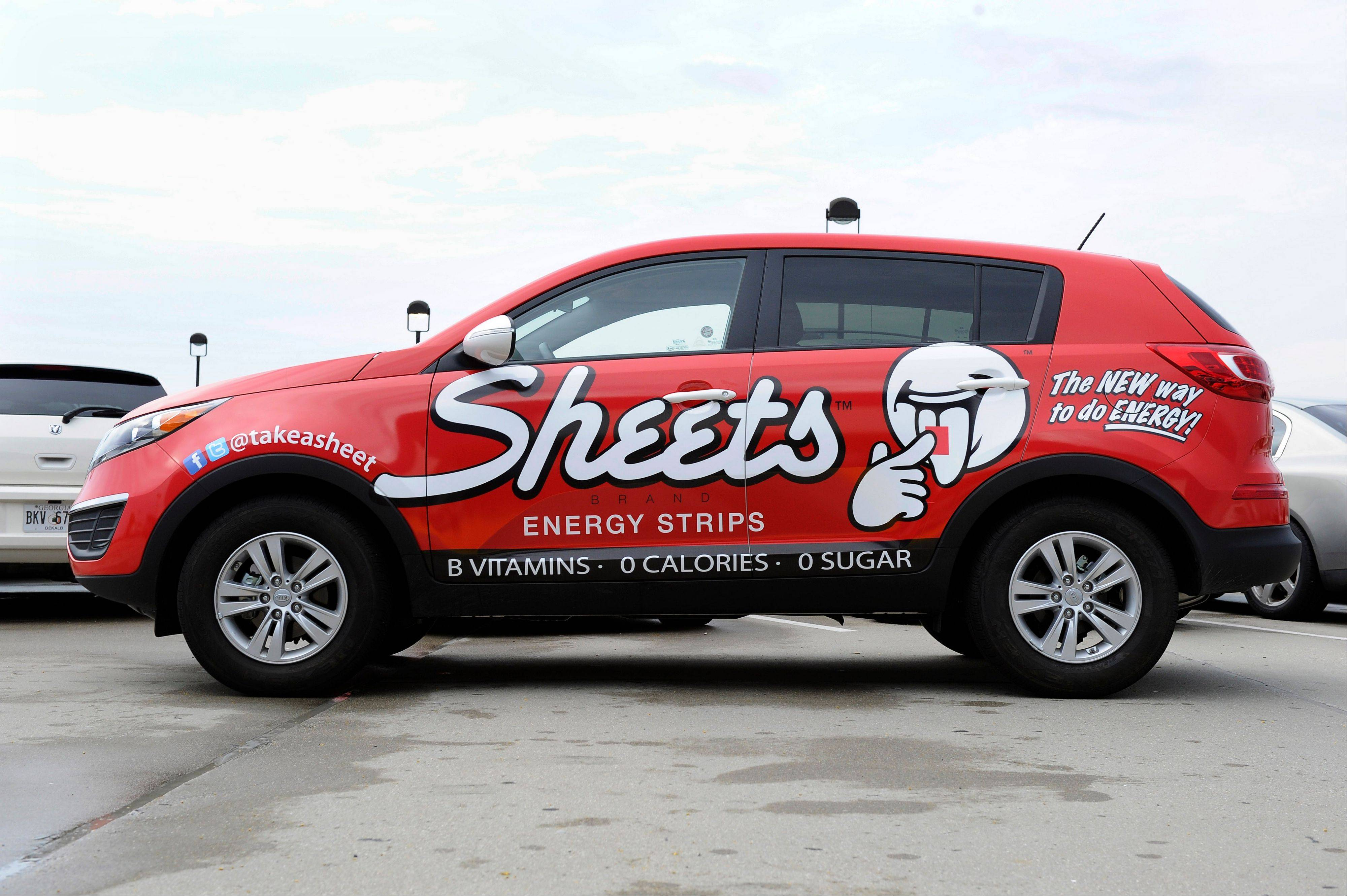 Some Budget rental cars are outfitted with ads for Sheets Brand Energy Strips, a product launched earlier this summer.