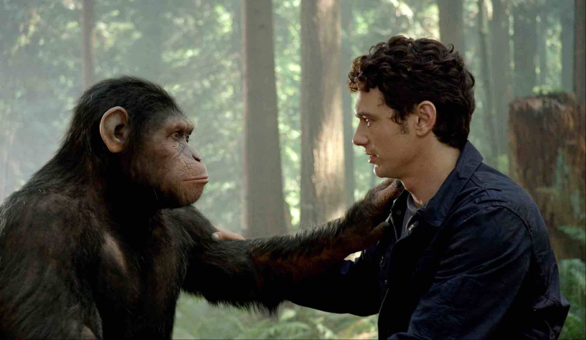 "Caesar the chimp, a CG animal portrayed by Andy Serkis, and James Franco star in ""Rise of the Planet of the Apes,"" which opened in U.S. theaters Friday."