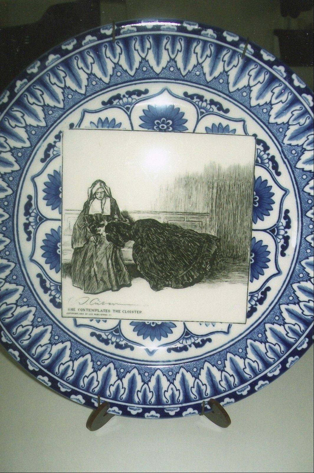 """She Contemplates the Cloister"" is one of a series of Gibson girl plates."