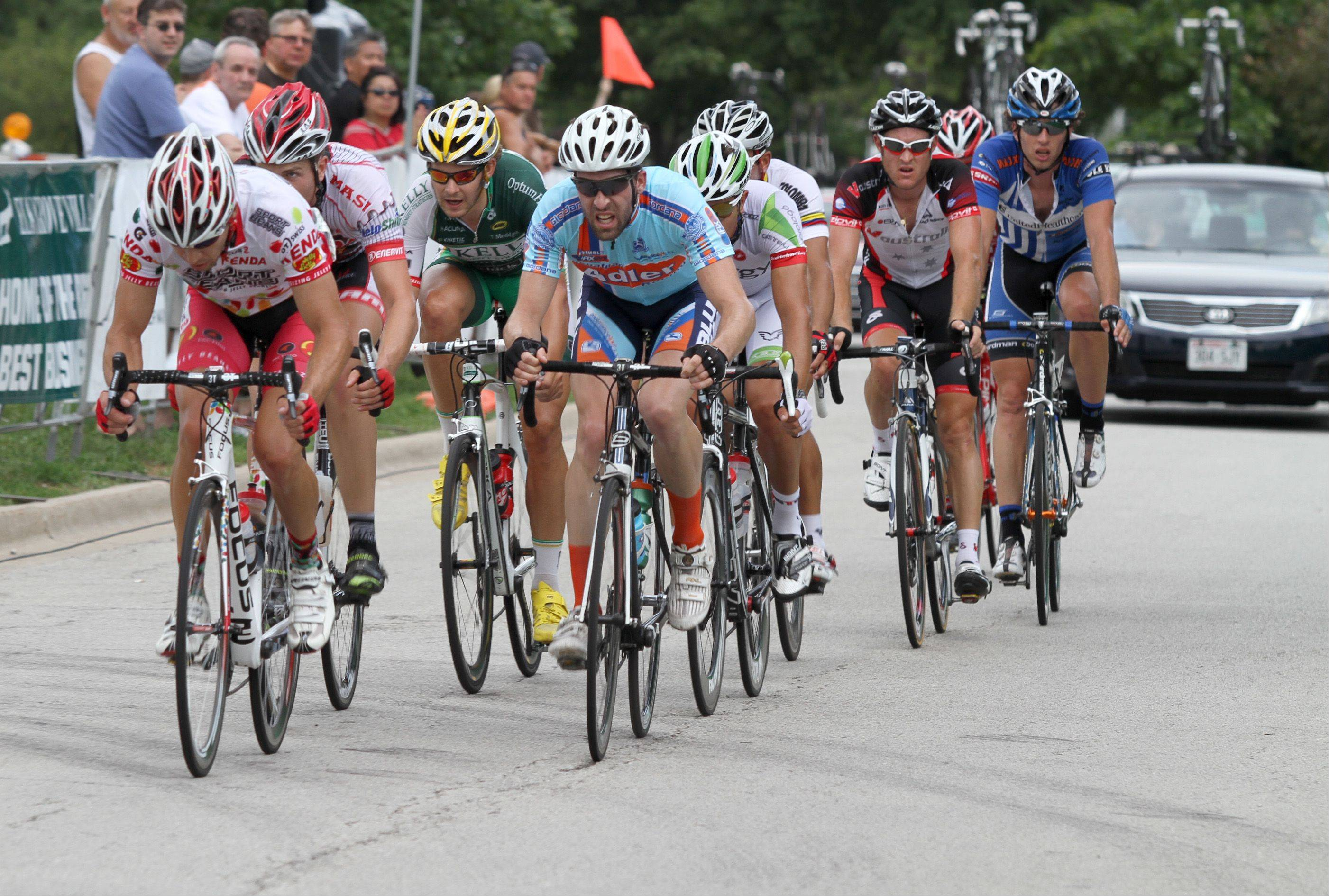 A pack of nine riders break from the rest during the men's stage 3 race Sunday afternoon at the 6th annual Alexian Brothers Tour of Elk Grove.