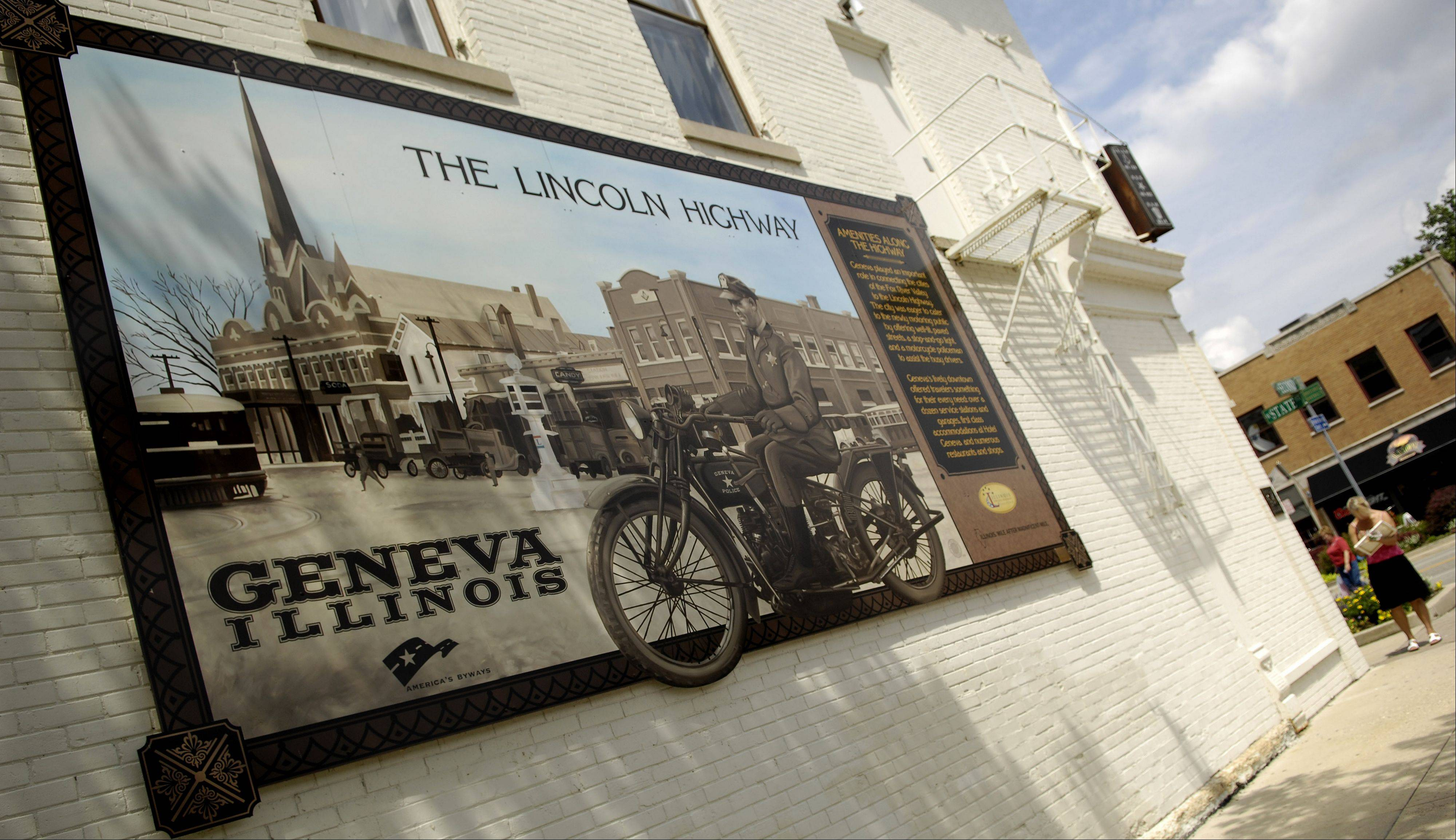 The Illinois Lincoln Highway Coalition's Interpretive Mural Project, in which murals are hung in a prominent place in the community as a dedication to the history of the highway, includes this installation on South Second Street in Geneva as well as others in St. Charles and Maple Park.