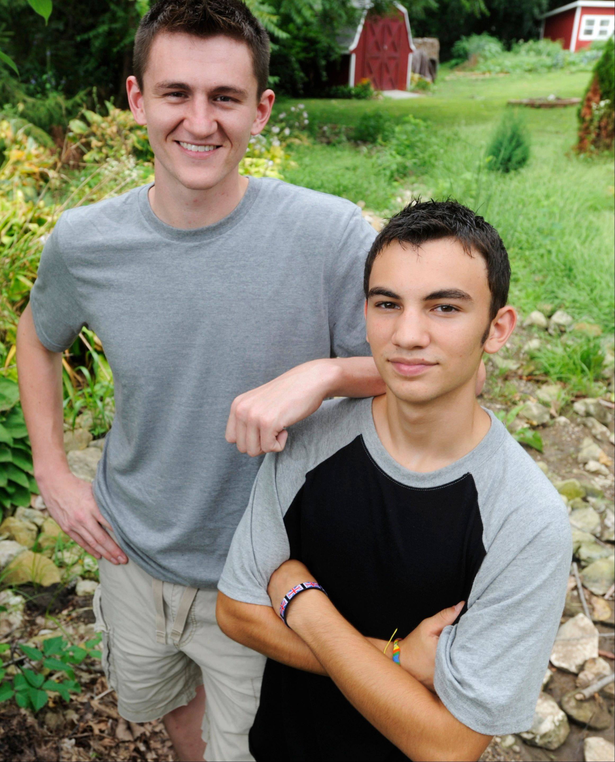 Camden Linstead, left, and his half-brother Christopher Lance will be trekking across England to raise awareness for the gene CDH1 and how it can lead to stomach cancer.