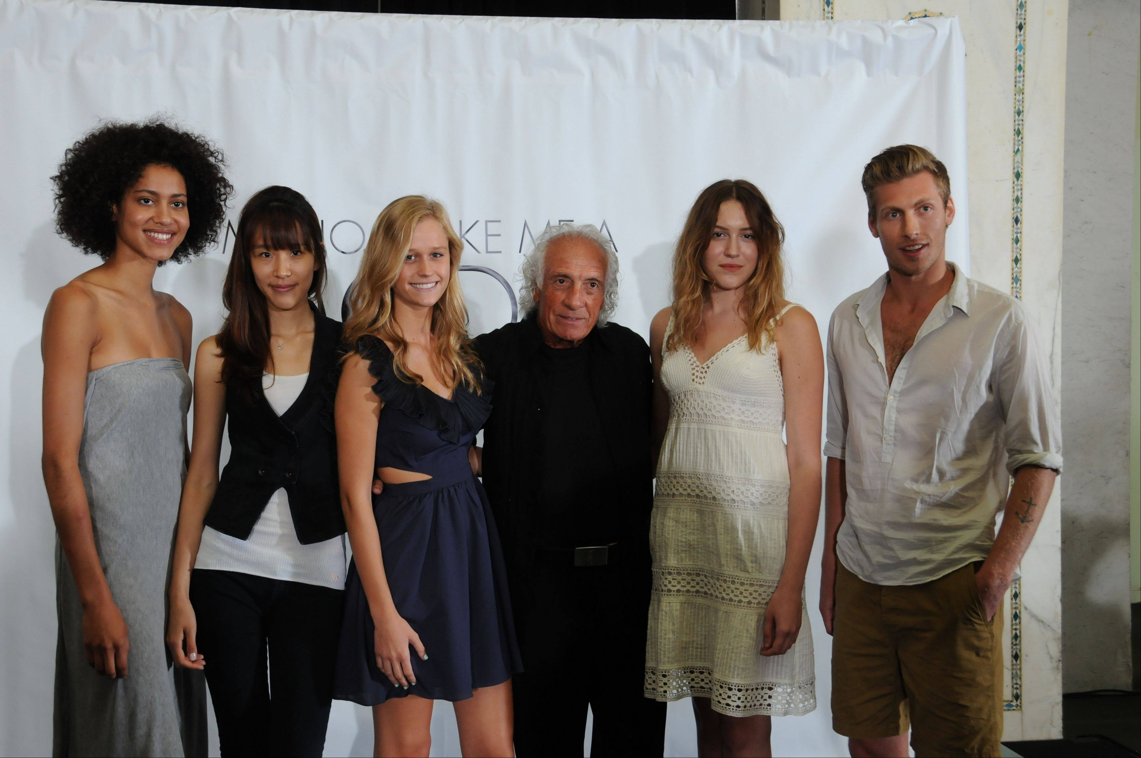 The five semifinalists pose with Mario Tricoci. From left: Mercedes Janell Johnson; Juni Juhyun Park; Lynn Michelle Tatge; Tricoci; Alexandra Grace Cangelosi and Zachary Ross.