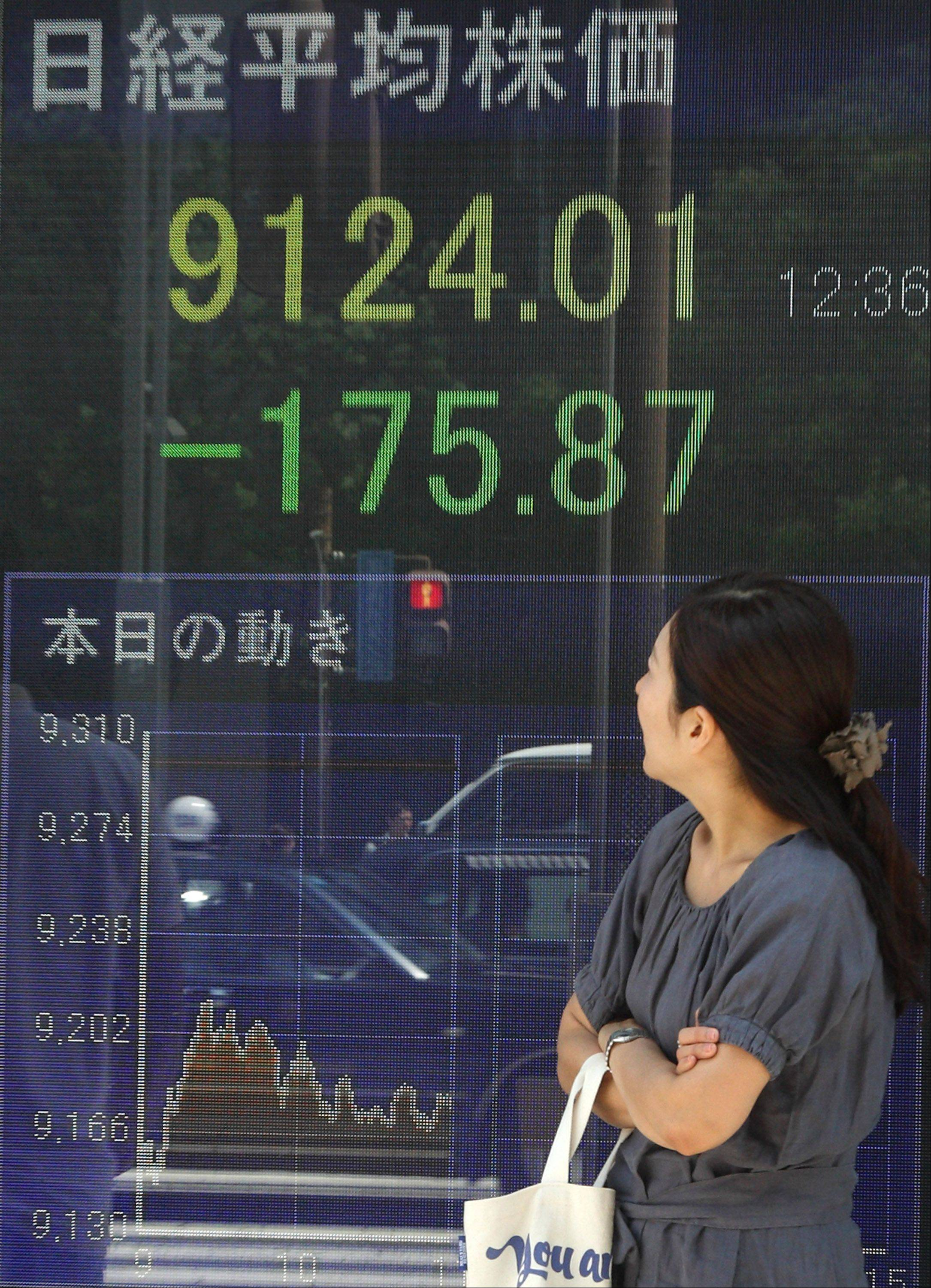 A pedestrian looks at an electronic stock board displaying a midday figure of the Nikkei 225 Stock Average outside a securities firm in Tokyo, Japan, on Monday, Aug. 8, 2011. Japanese stocks dropped, sending the Nikkei 225 Stock Average to its biggest two-day decline since March, after Standard & Poor's Ratings Services cut the U.S. government's credit rating, damping the outlook for Asia's banks and exporters.