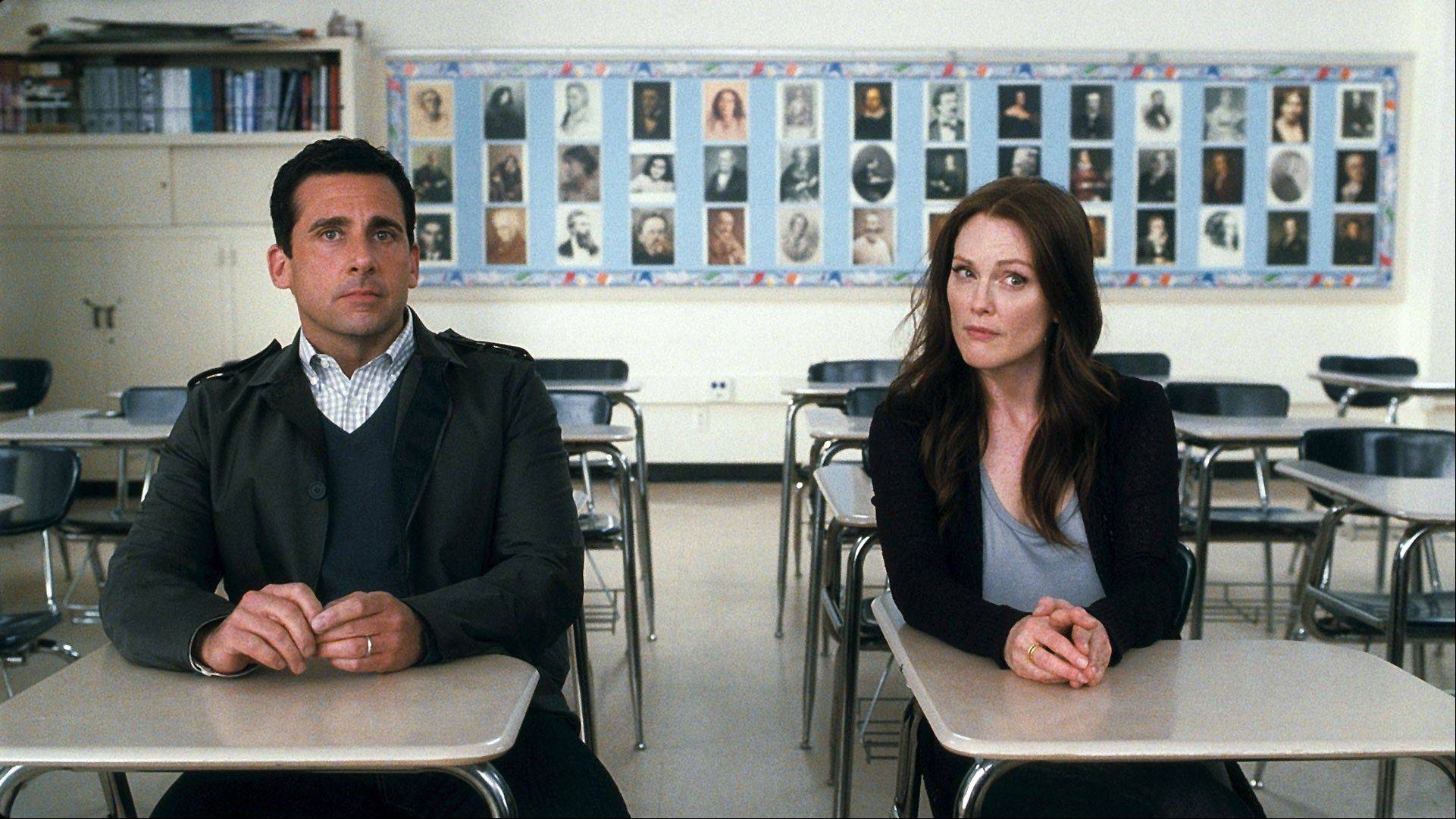 "Steve Carell and Julianne Moore are shown in a scene from ""Crazy, Stupid, Love."" When Carell's character learns that his wife (Moore) has cheated on him, they split and he starts sleeping all over town. But he, taking inspiration from his young son, eventually realizes his true love for his wife and their reunion seems promising."