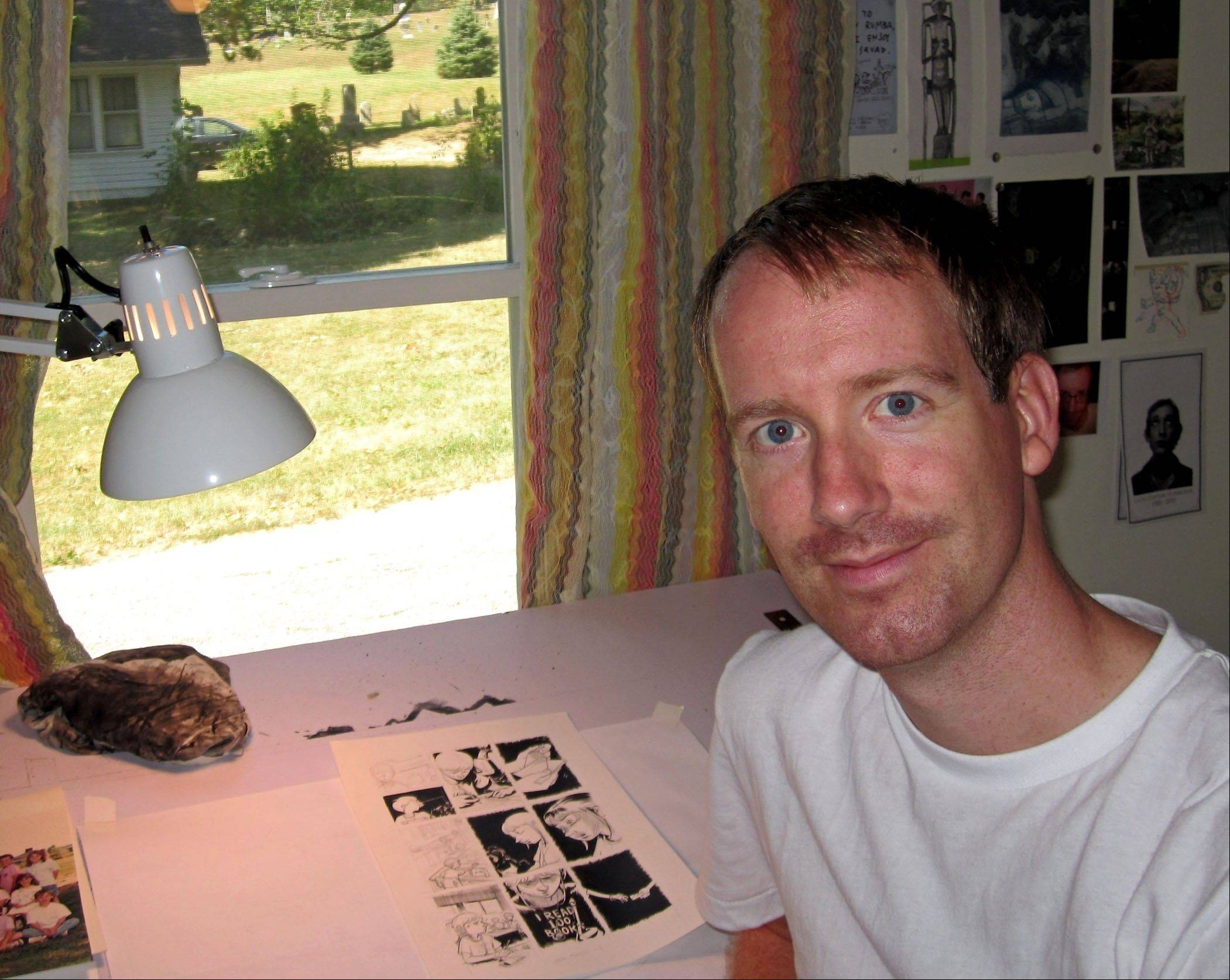 "Cartoonist Nate Powell will appear at the Chicago Comic Con with his new book, ""Any Empire."""