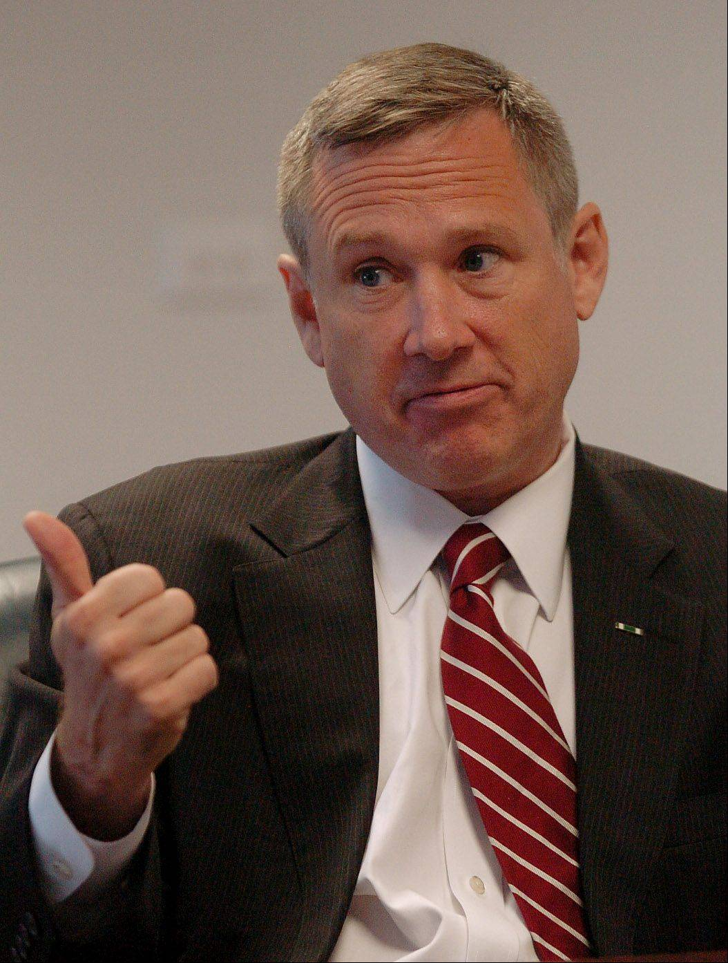 Bob Chwedyk/bchwedyk@dailyherald.com Sen. Mark Kirk is calling for Congress to return to Washington D.C. to address the nation's debt issue. He met Wednesday with the Daily Herald editorial board.