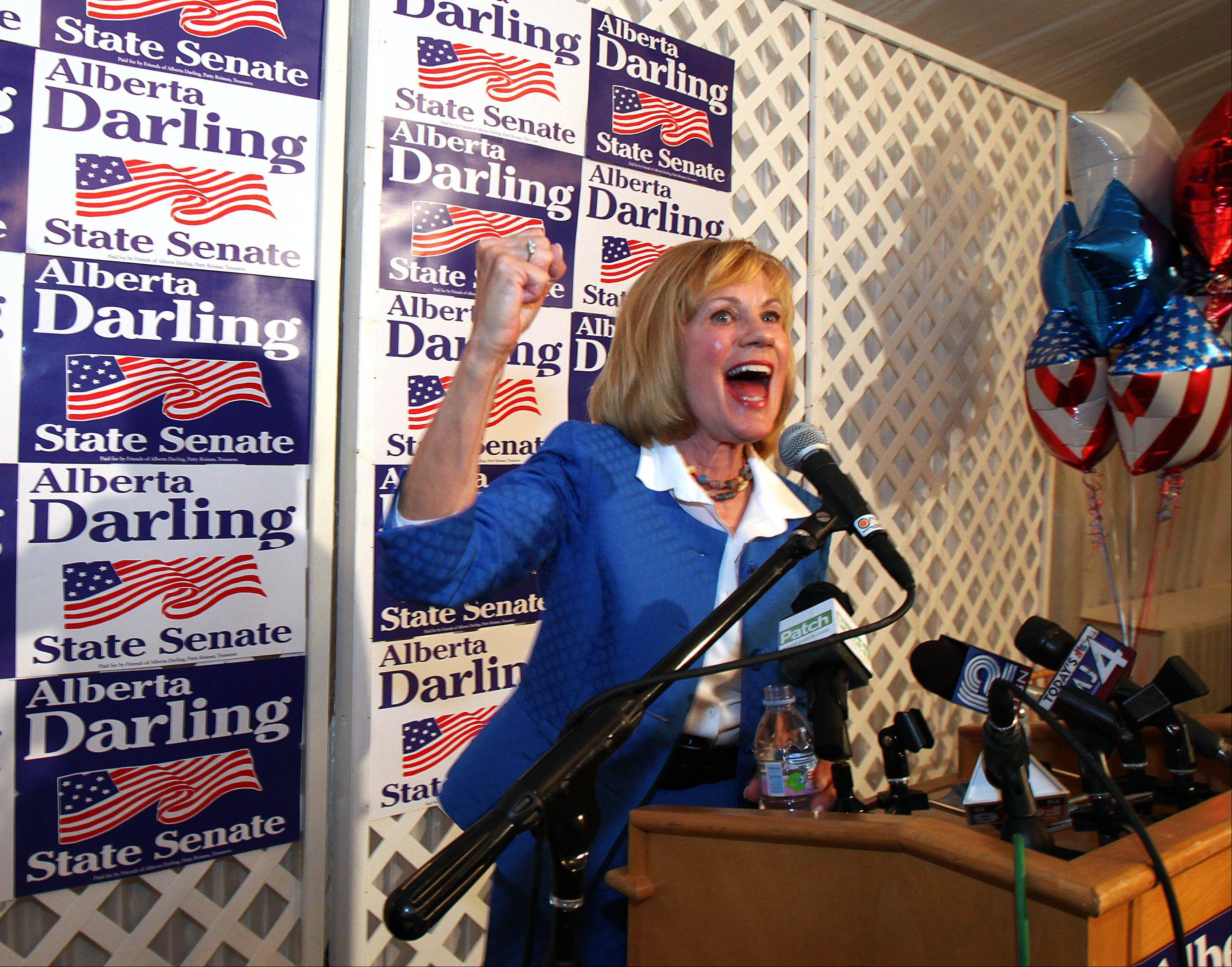 Republican Sen. Alberta Darling speaks to supporters at her recall election results party in Thiensville, Wis., Tuesday night, after she successfully fended off a vote meant to unseat her.