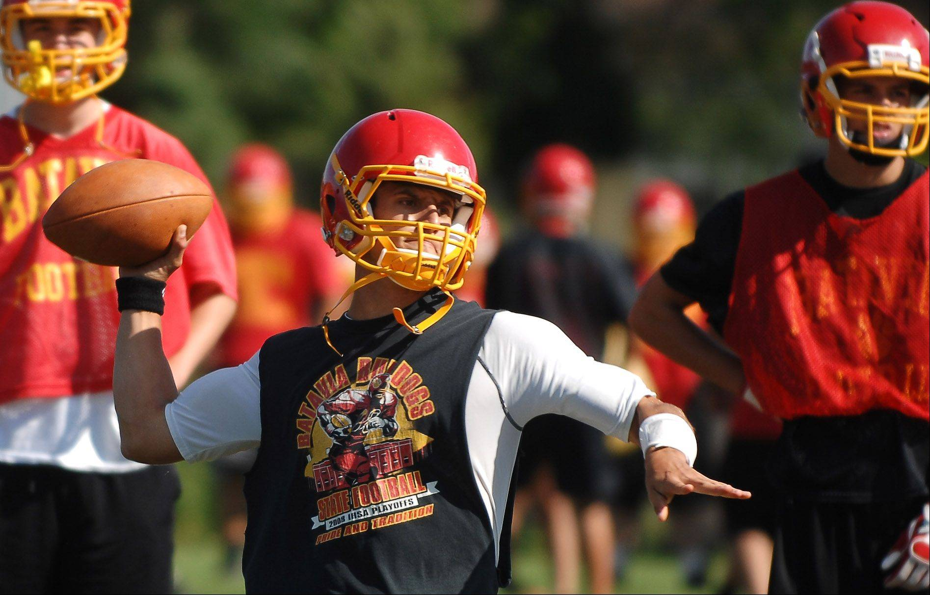 Quarterback Noel Gaspari gets ready to fire a pass during the first day of football practice for Batavia HIgh School Wednesday.