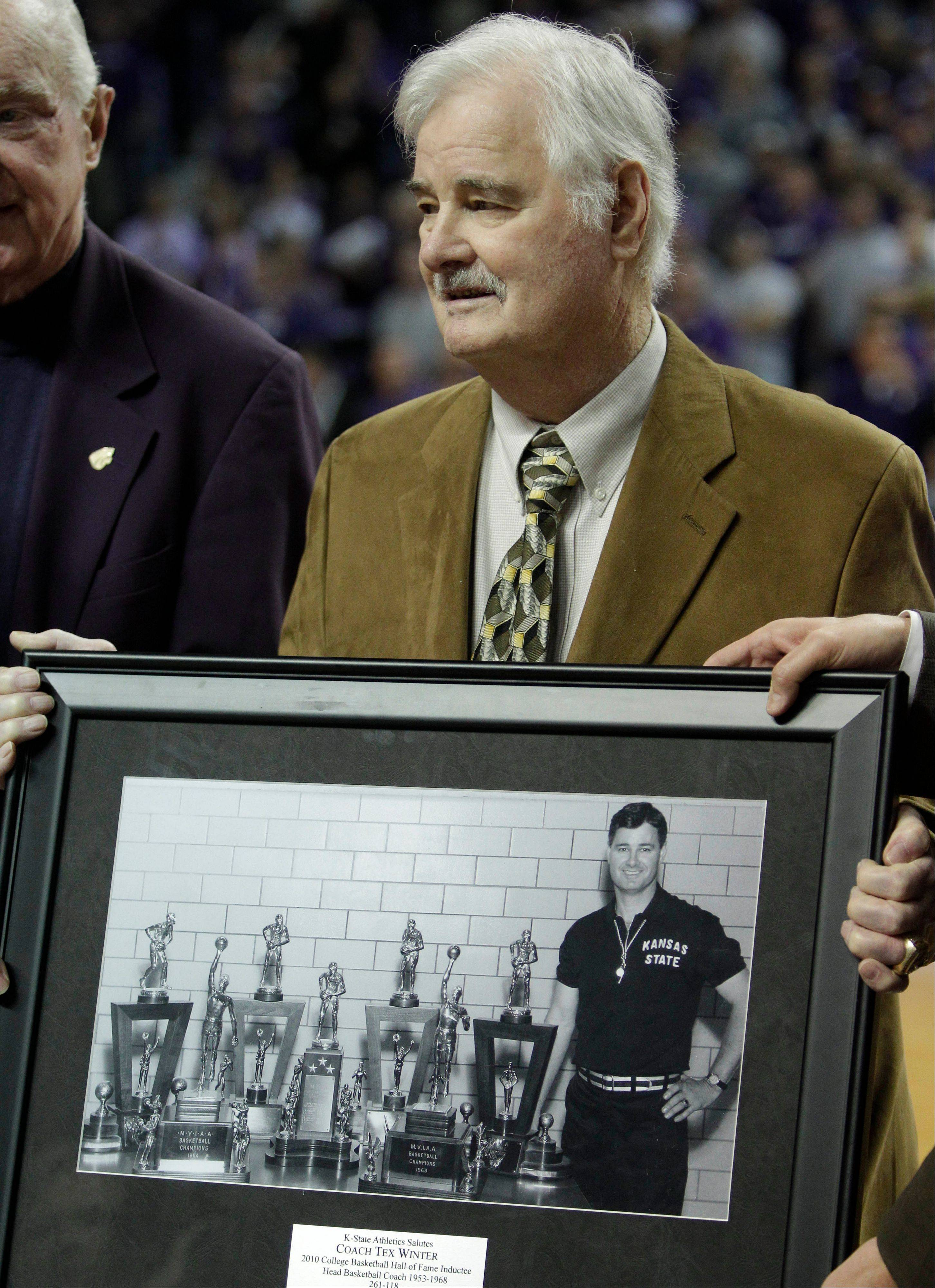 Tex Winter is honored during a halftime ceremony at a Kansas State game last November.