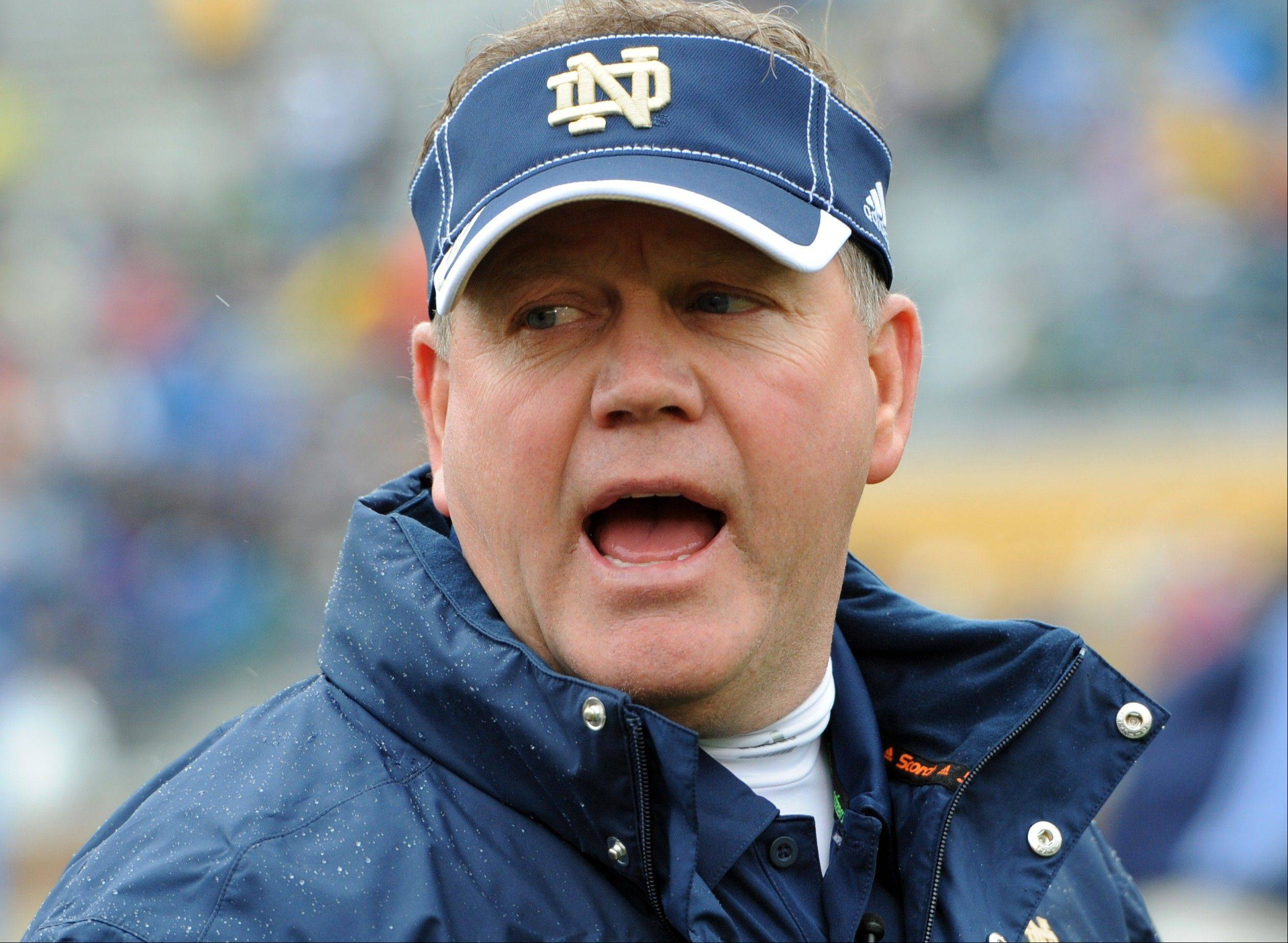 Notre Dame coach Brian Kelly says the offensive line is one of the team's strengths this season.