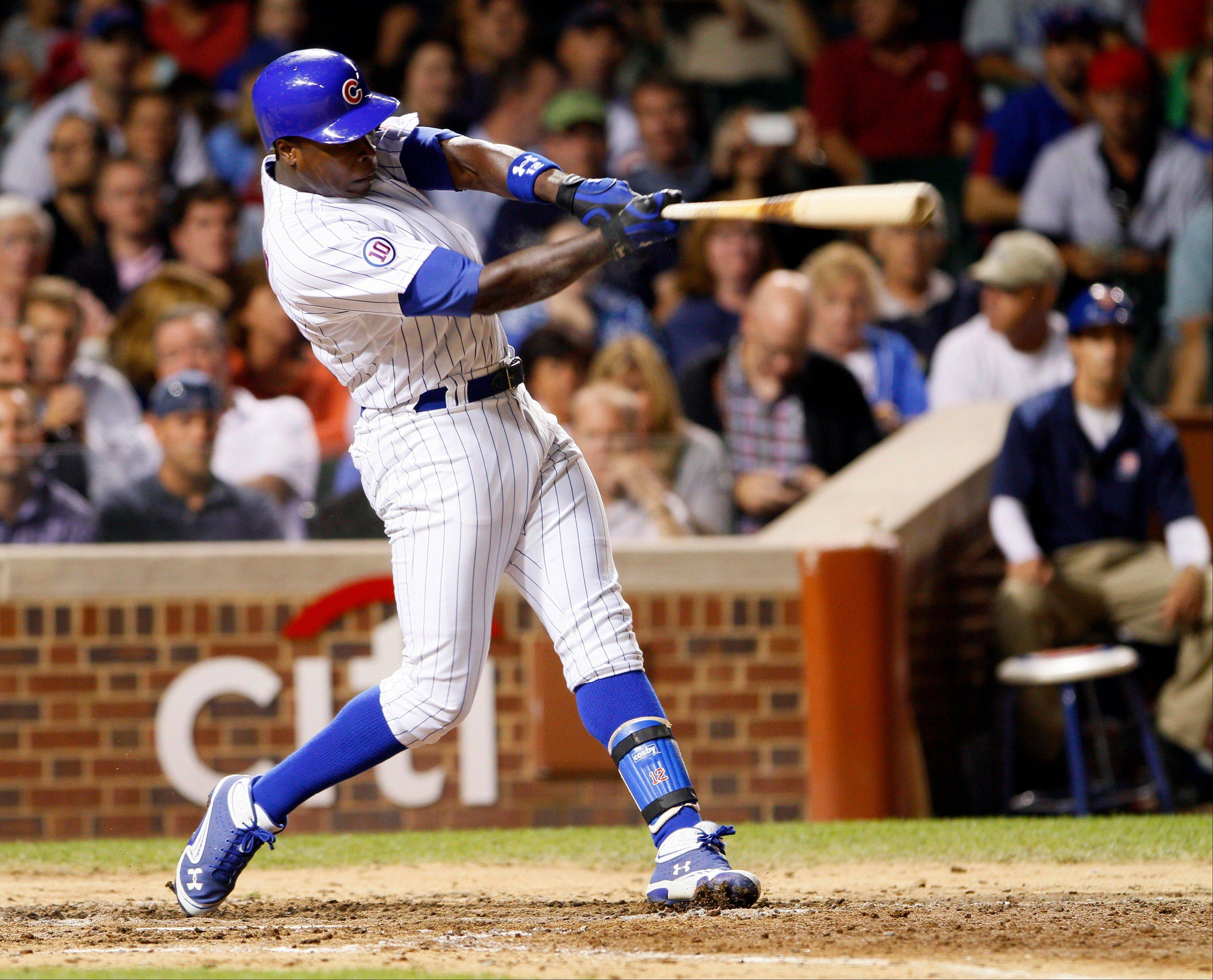 Associated Press Chicago Cubs' Alfonso Soriano hits a solo home run in the sixth inning against the Washington Nationals on Wednesday in Chicago.