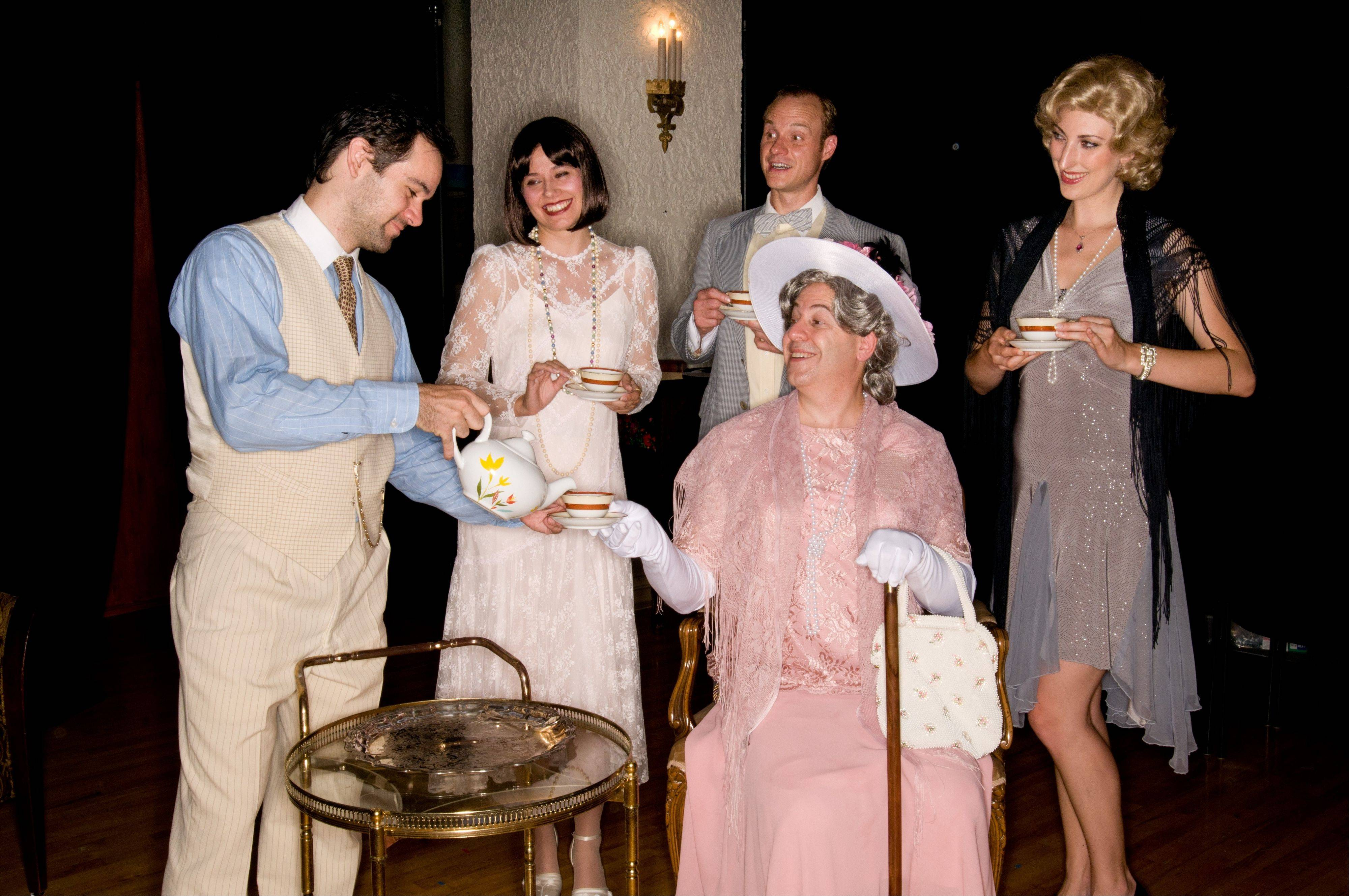 "Janus Theatre stages ""The Importance of Being Earnest"" with, from left, Corey Noble, Jocelyn Adamski, Dennis Edward, Brian Rabinowitz and Lucy Zukaitis."