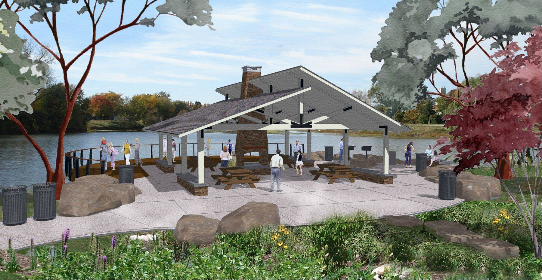 An artist's rendering shows the new four-season shelter and scenic overlook that will replace the current shelter at Waubonsie Lake Park in Aurora.