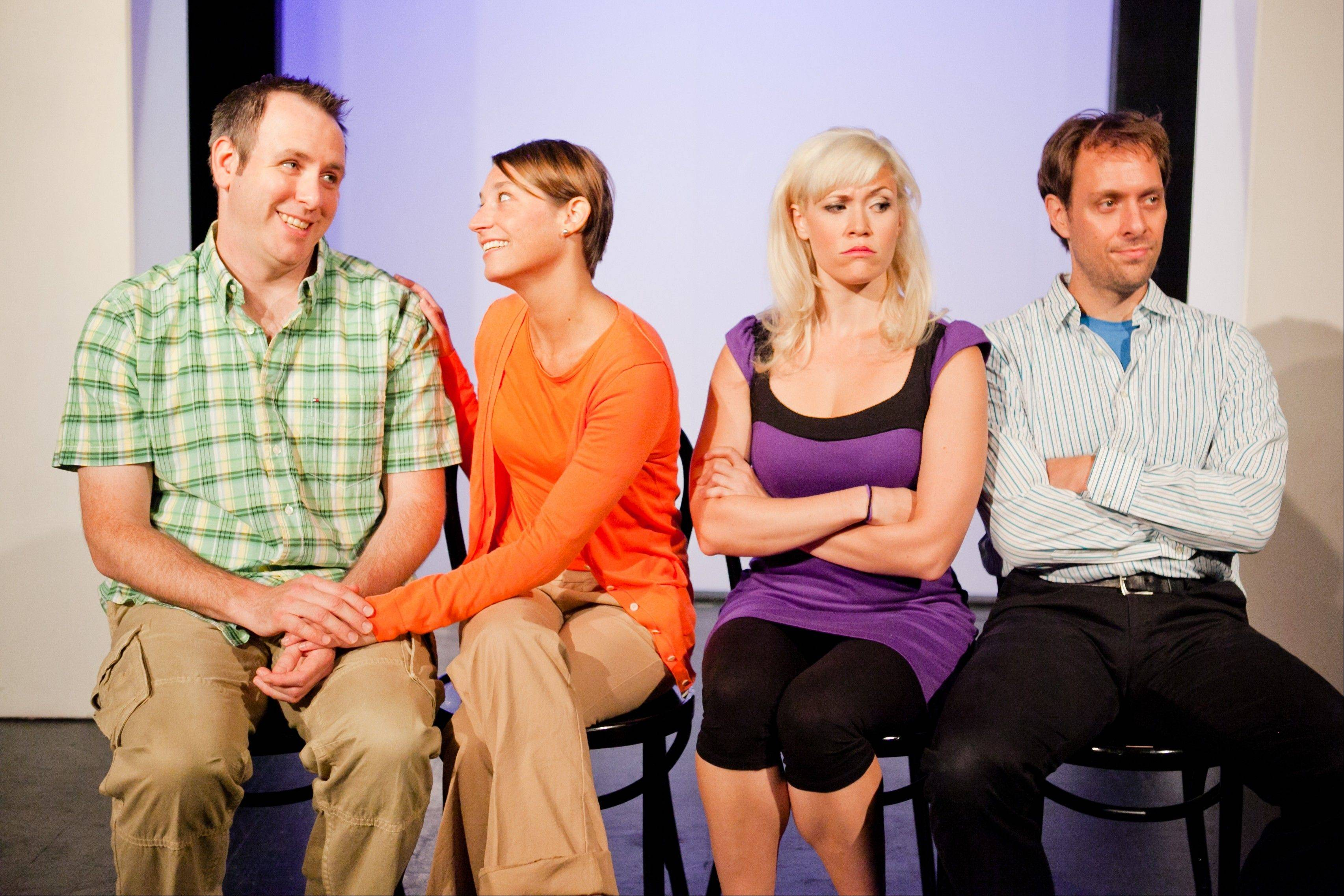 "Longtime couple Allie (Carisa Barreca, second from right) and Travis (Jimmy Carlson) get upstaged in the romance department by a recently infatuated couple (played by Shad Kunkle, left and Amanda Blake Davis) in ""Sex & the Second City: A Romantic Dot Comedy"" now playing at the Metropolis Performing Arts Centre."