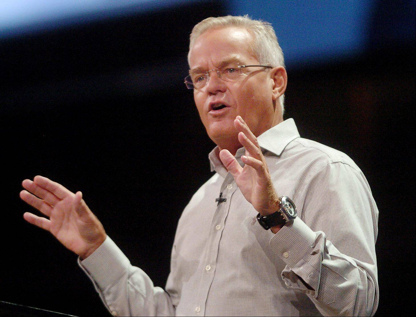 Bill Hybels, founder and senior pastor of Willow Creek, speaks to the Global Leadership Summit on the church's position on gays following Starbucks CEO Howard Schultz's withdrawal from the summit after pressure from a gay group.