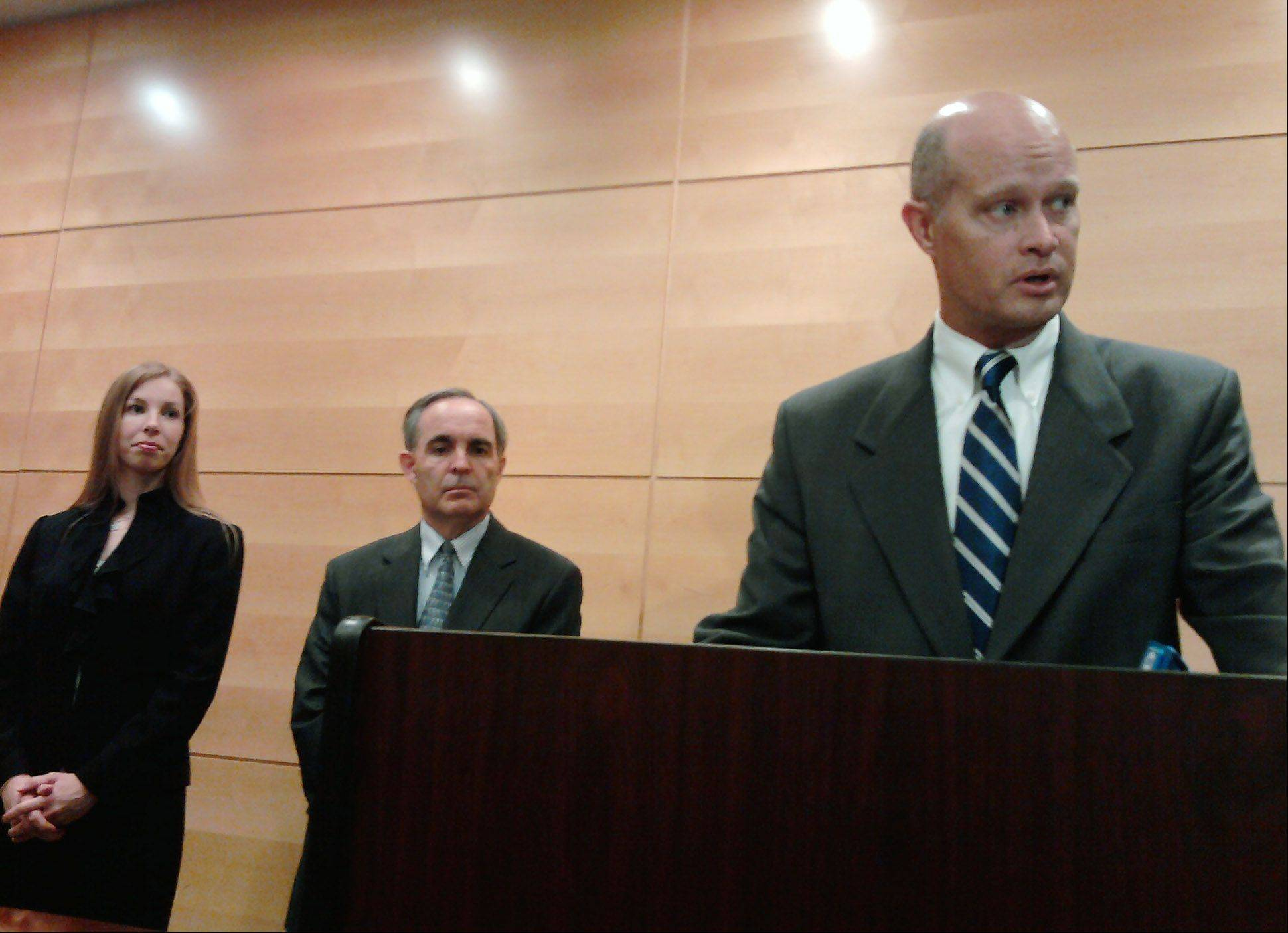 Kane County State's Attorney Joe McMahon, right, discusses the Timera Branch guilty verdict Thursday. From left are Assistant State's Attorneys Reagan McGuire and Greg Sams, both of whom prosecuted the case. Branch could get up to 60 years in prison when she is sentenced Sept. 28.
