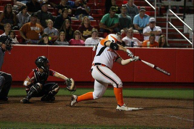Chicago rookie Alisa Goler blasts her 11th home run of the National Pro Fastpitch season on Thursday against the USSSA Pride. The walk-off homer gave the Bandits a 6-5 win.