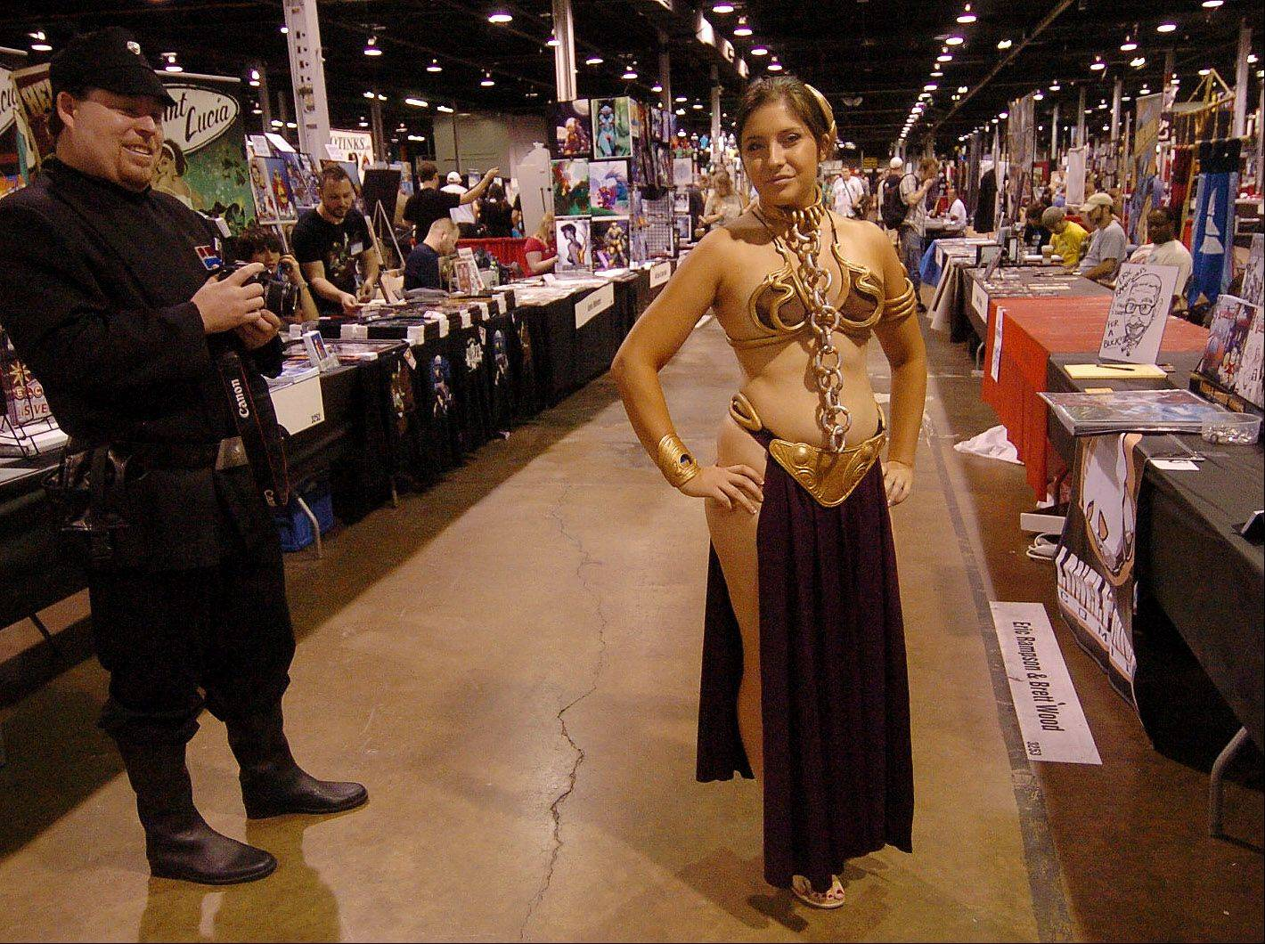 Eve Johnson of Grand Rapids, Michigan, portraying Princess Leia from Star Wars at the Wizard World Chicago Comic Con.