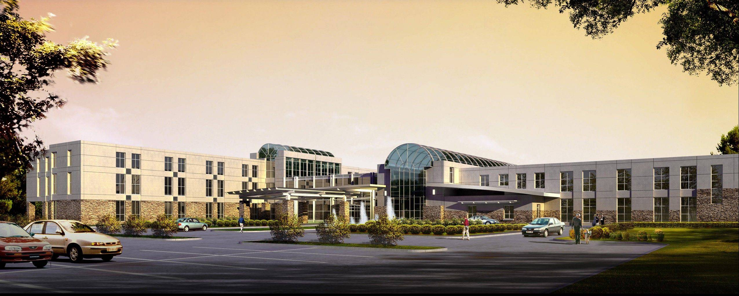 A rendering of a 70-bed hospital Mercy Health System hopes to build in Crystal Lake. Mercy previously wanted to construct a 128-bed facility, but the state rejected that plan in June.