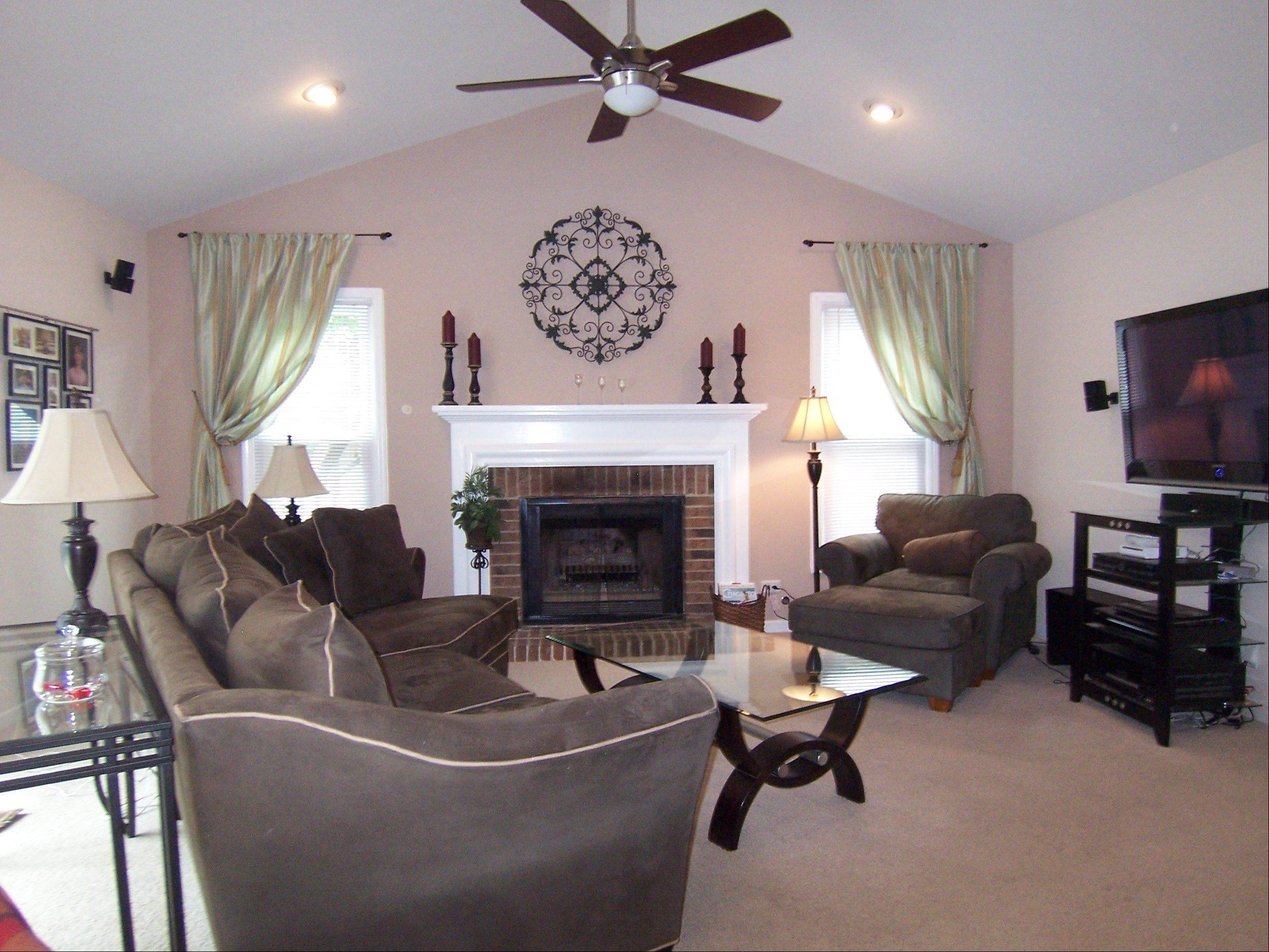 The family room features a vaulted ceiling.