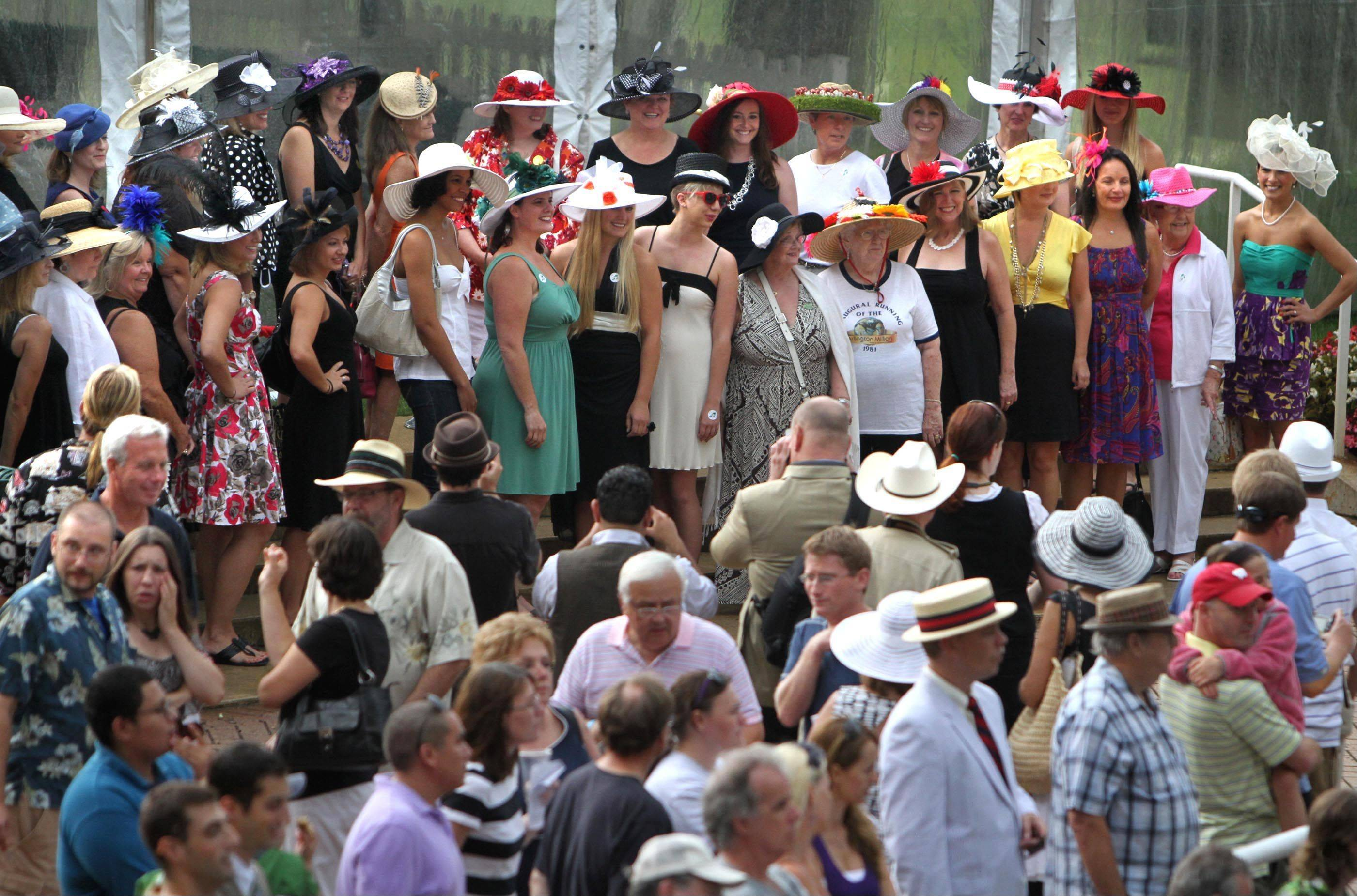 More than 40 women entered the hat contest before the running of the Arlington Million at Arlington Park on Saturday.