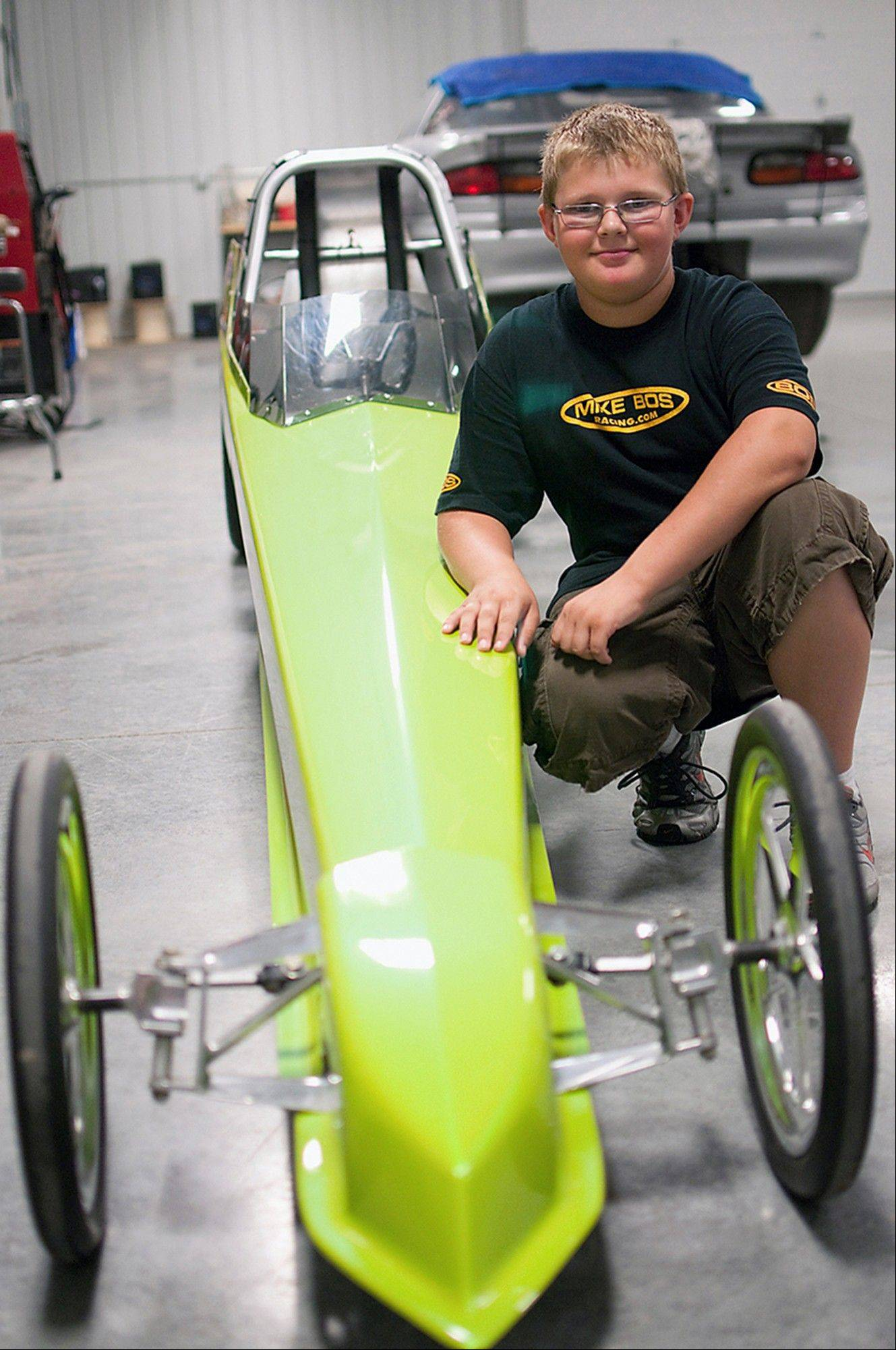 Zach Lewis, 11, of Knoxville has three years' experience as a drag racer.