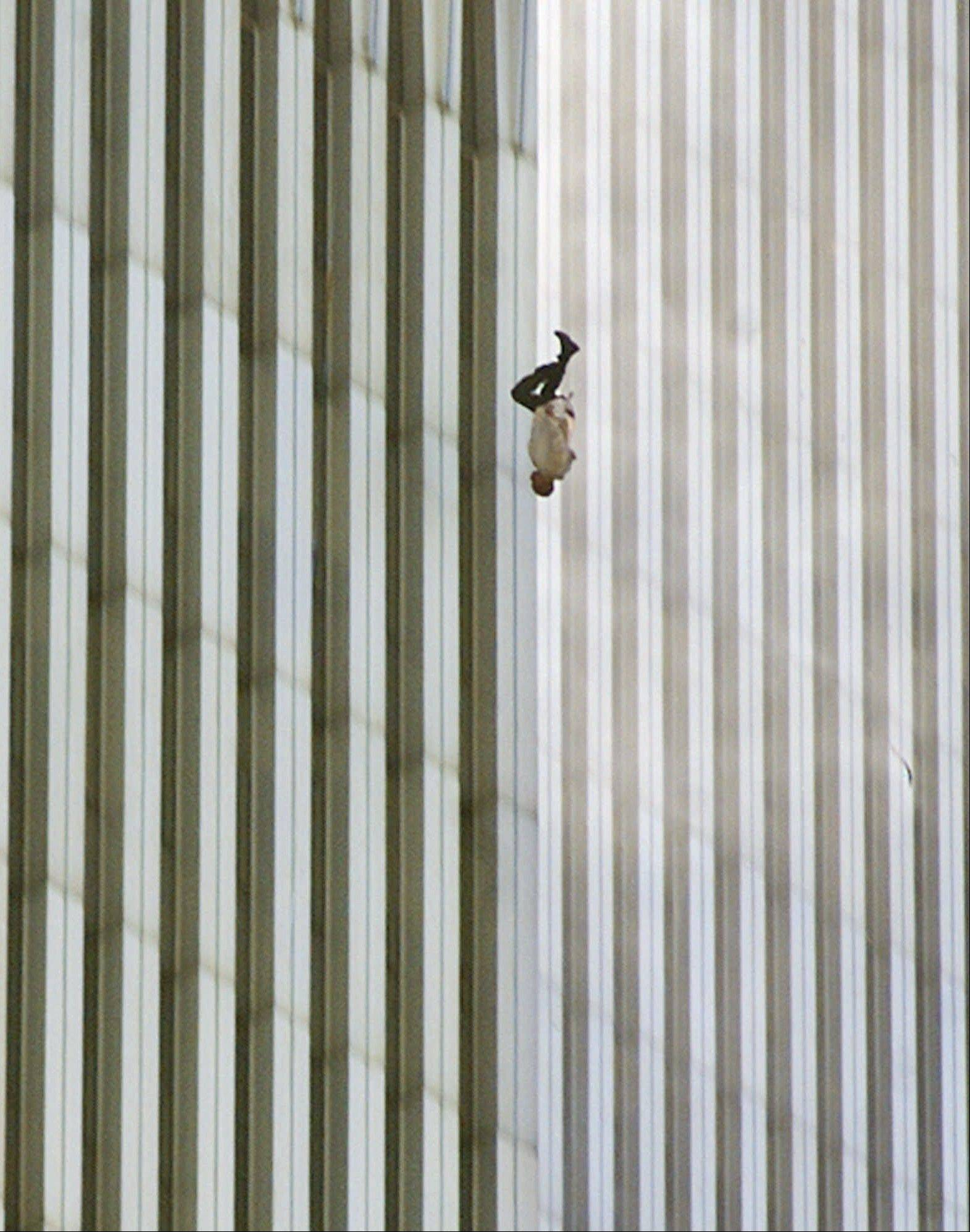Richard Drew captured this image of a person falling headfirst from the north tower of New York's World Trade Center on Sept. 11, 2001.