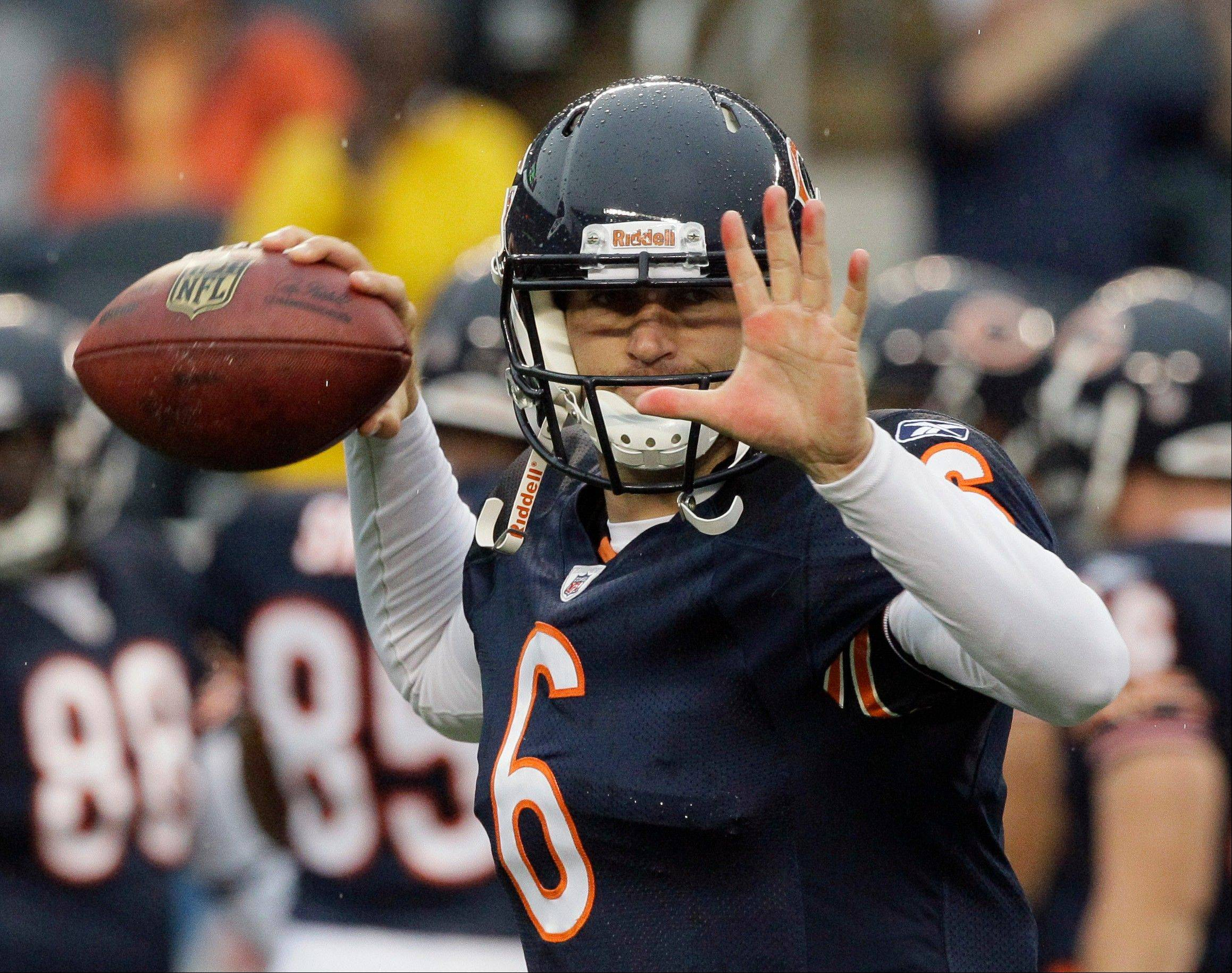 Quarterback Jay Cutler was hit early and often, but powered by a strong defense, the Bears held on for a 10-3 victory over the Buffalo Bills Saturday at Soldier Field.
