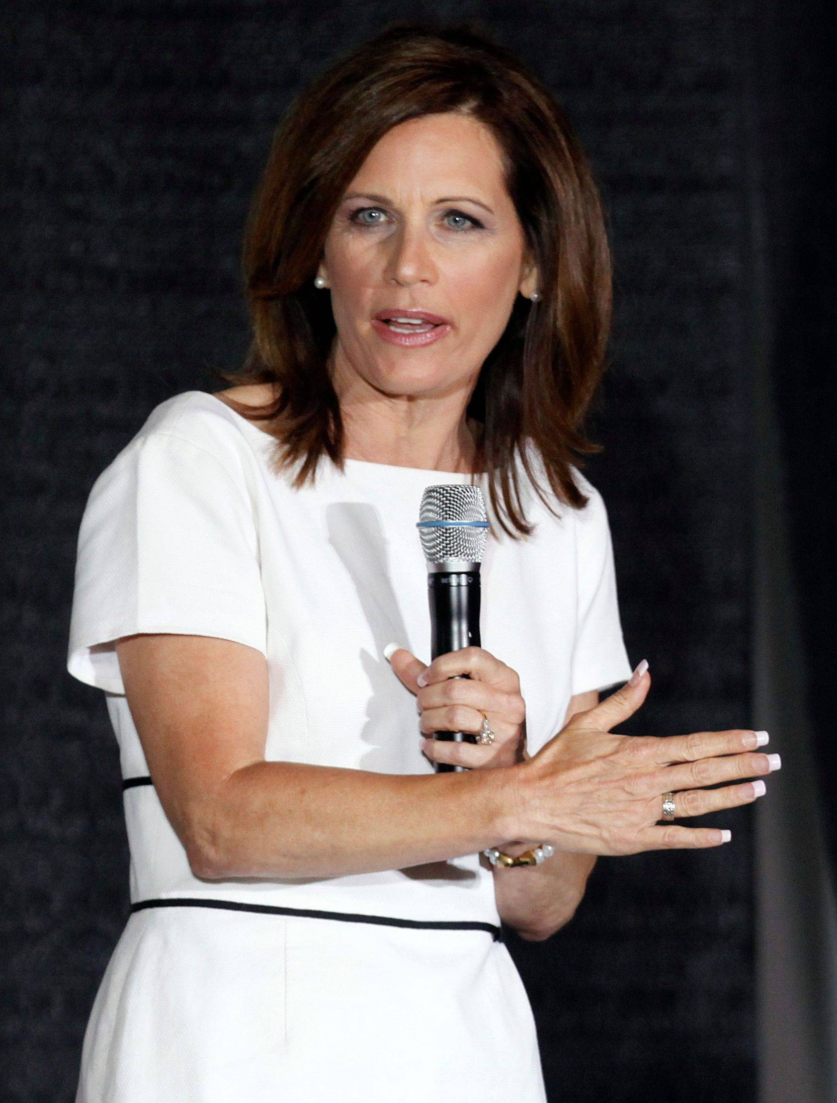 Republican presidential candidates Rep. Michele Bachmann, speaks Sunday to local Republicans during the Black Hawk County Republican Lincoln Day Dinner in Waterloo, Iowa.