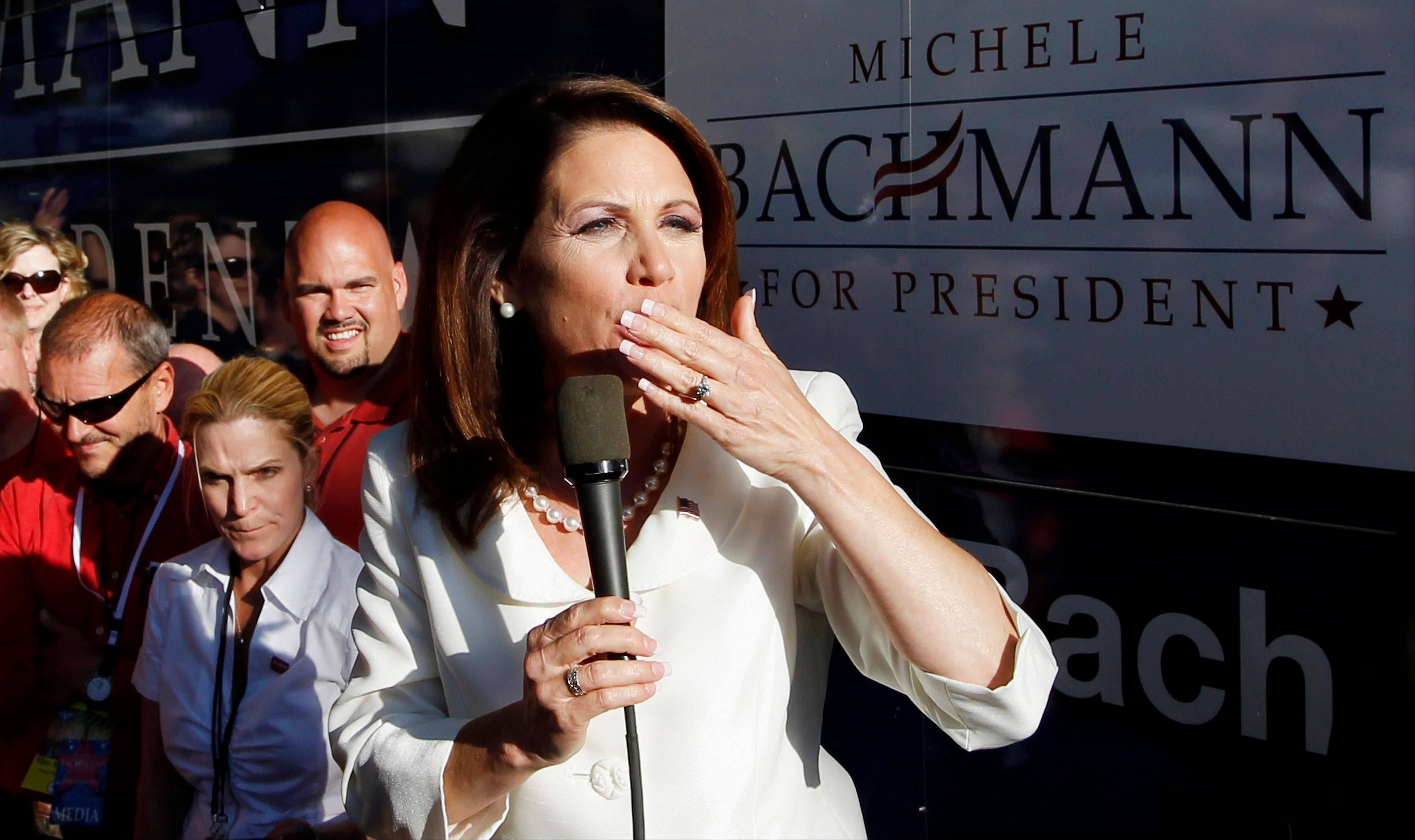 Republican presidential candidate Rep. Michele Bachmann, R-Minn., blows kisses as she speaks to her supporters after winning the Iowa Republican Party�s Straw Poll in Ames, Iowa, Saturday, Aug. 13, 2011.